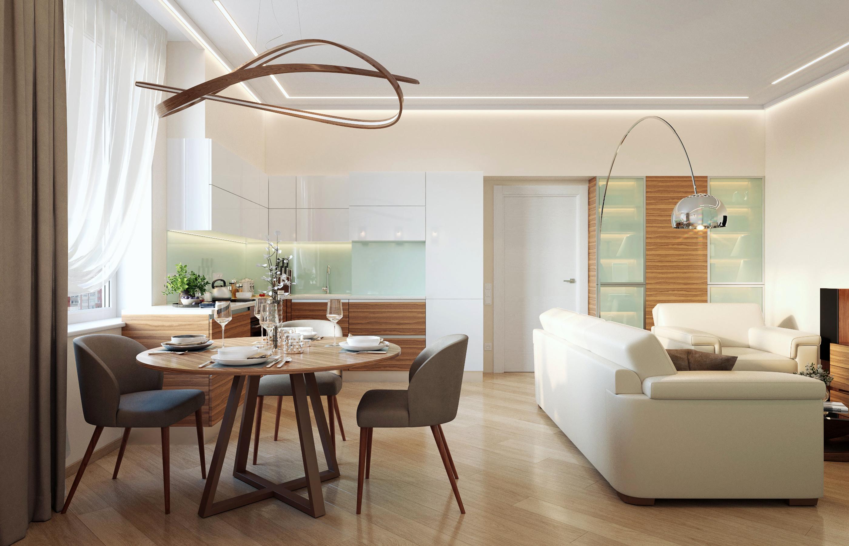 Дизайн интерьера гостиной, объединненой с кухней