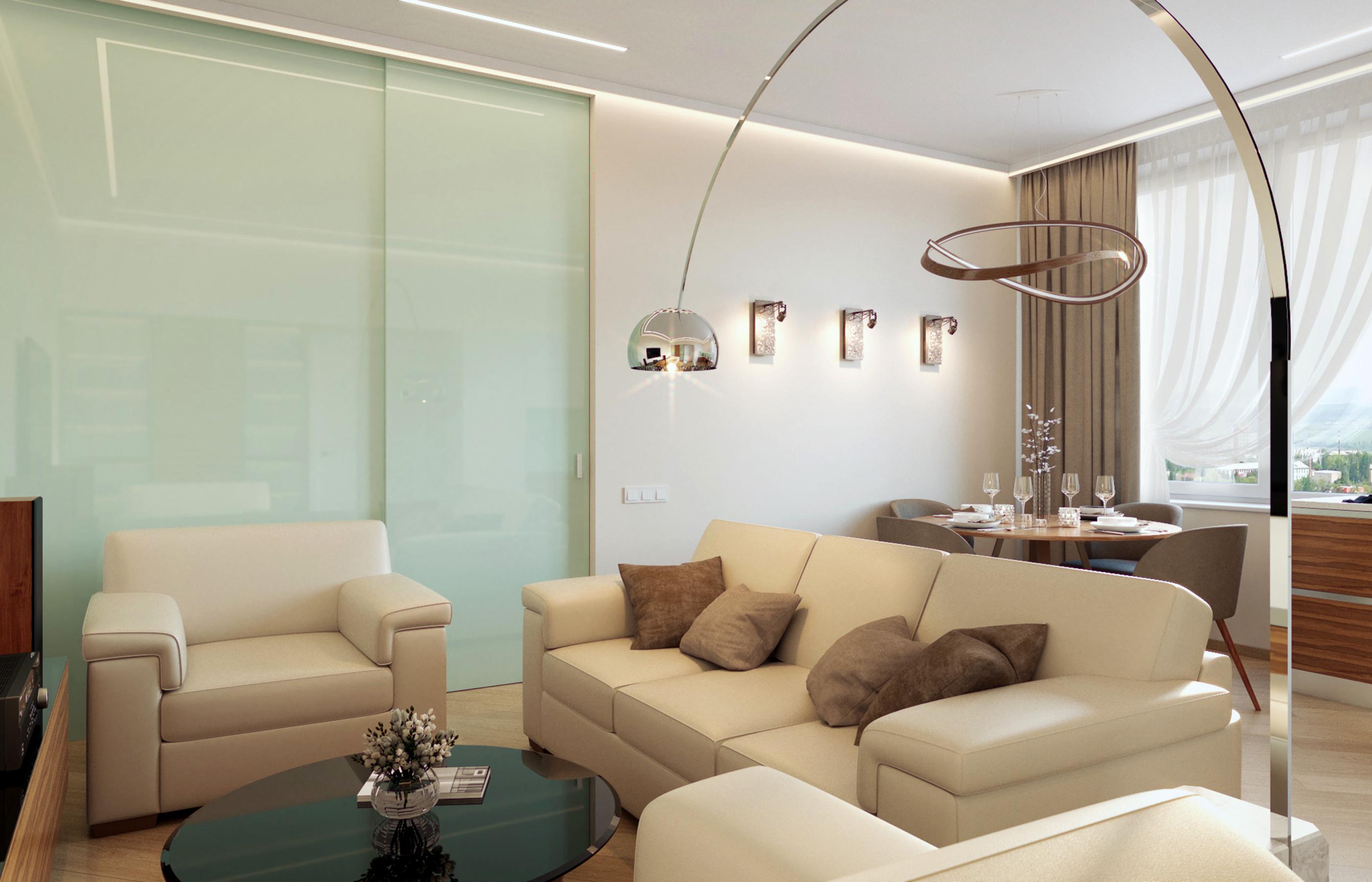 Для освещения гостиной использовано как направленное целевой освещение, так и скрытое рассеянное