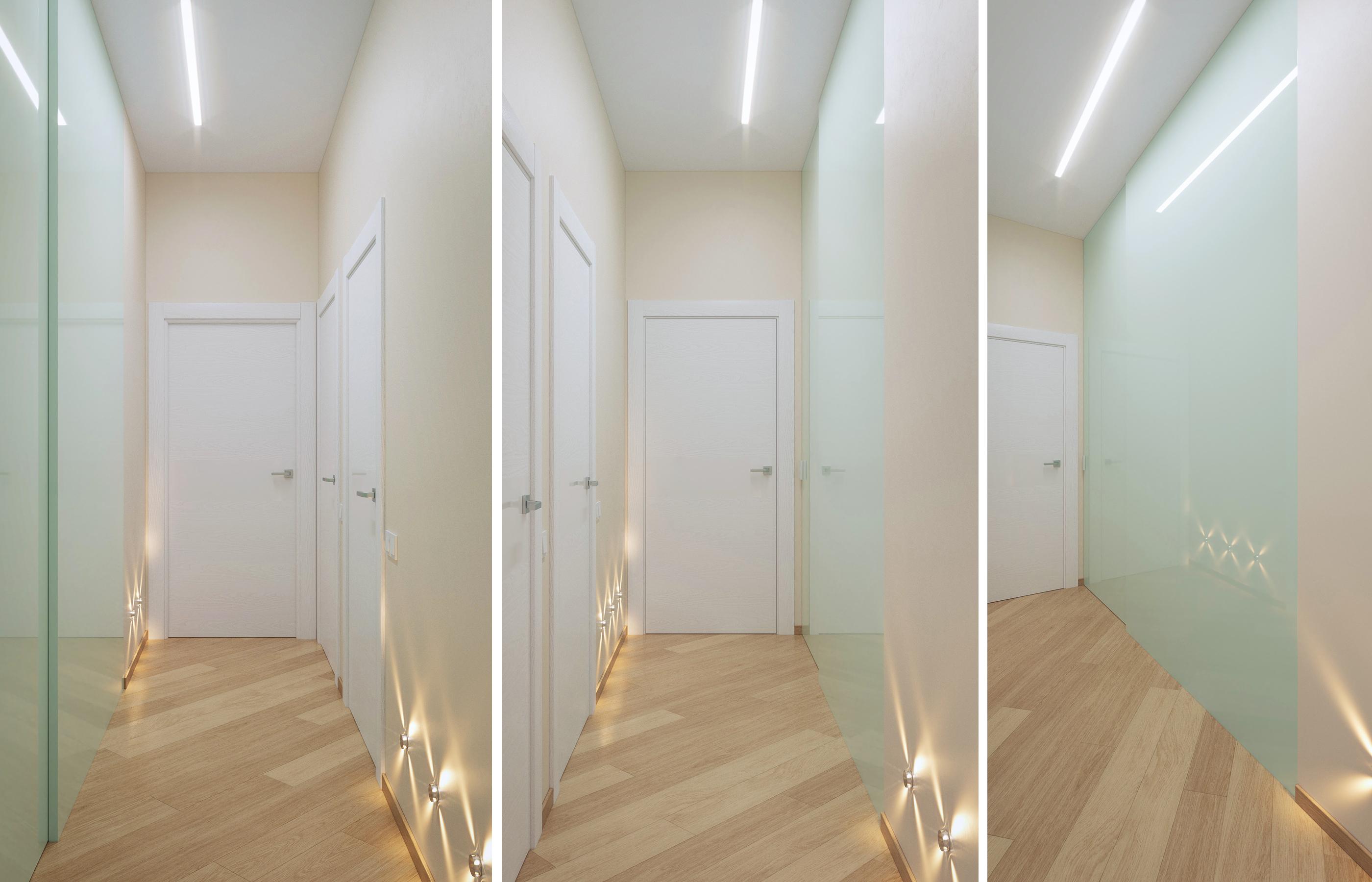 Дизайн коридора построен на системе линейных светильников и светильников с четко очерченнымм световымм лучами