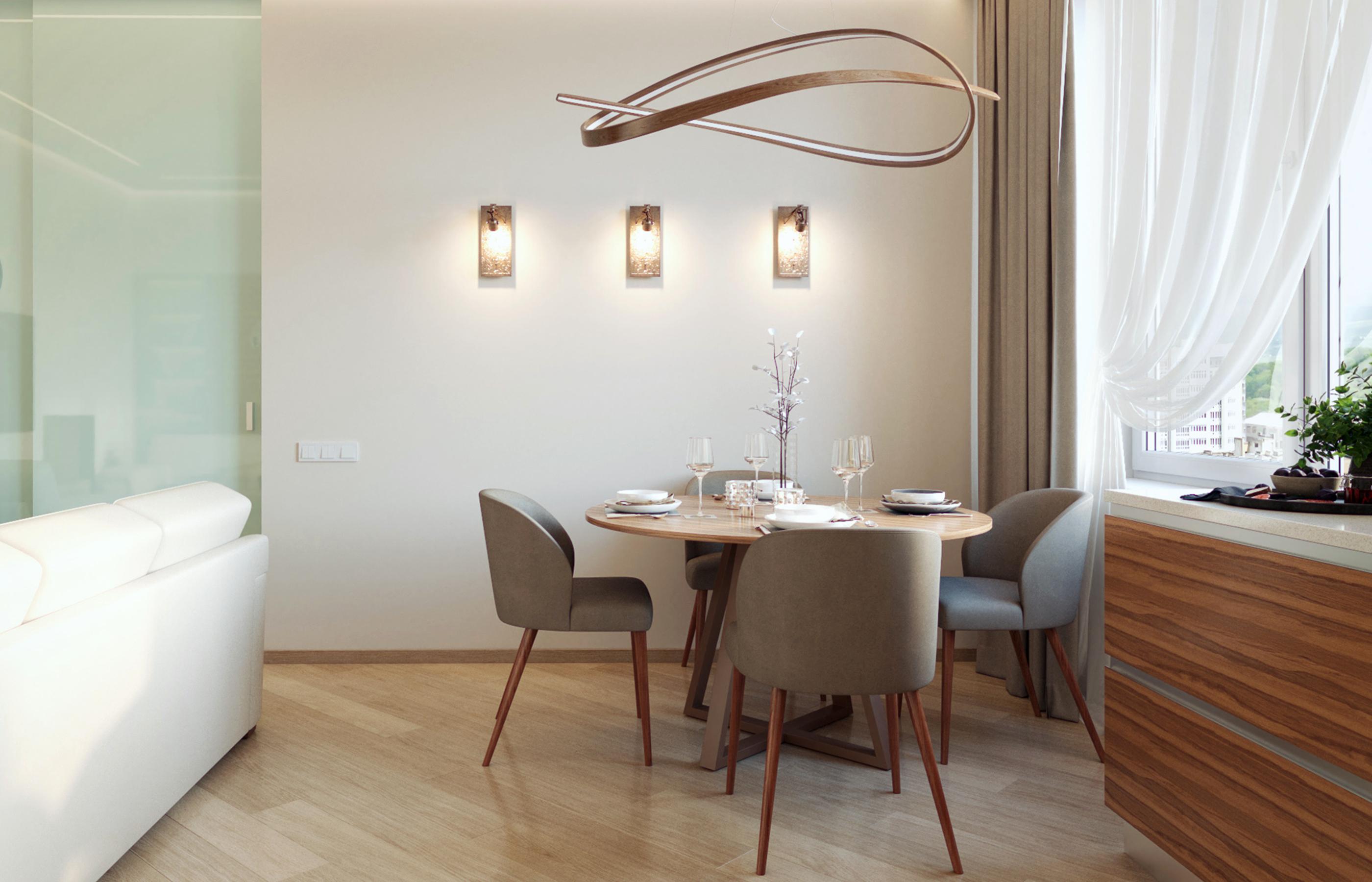 Столовая группа в гостиной в стиле минимализм