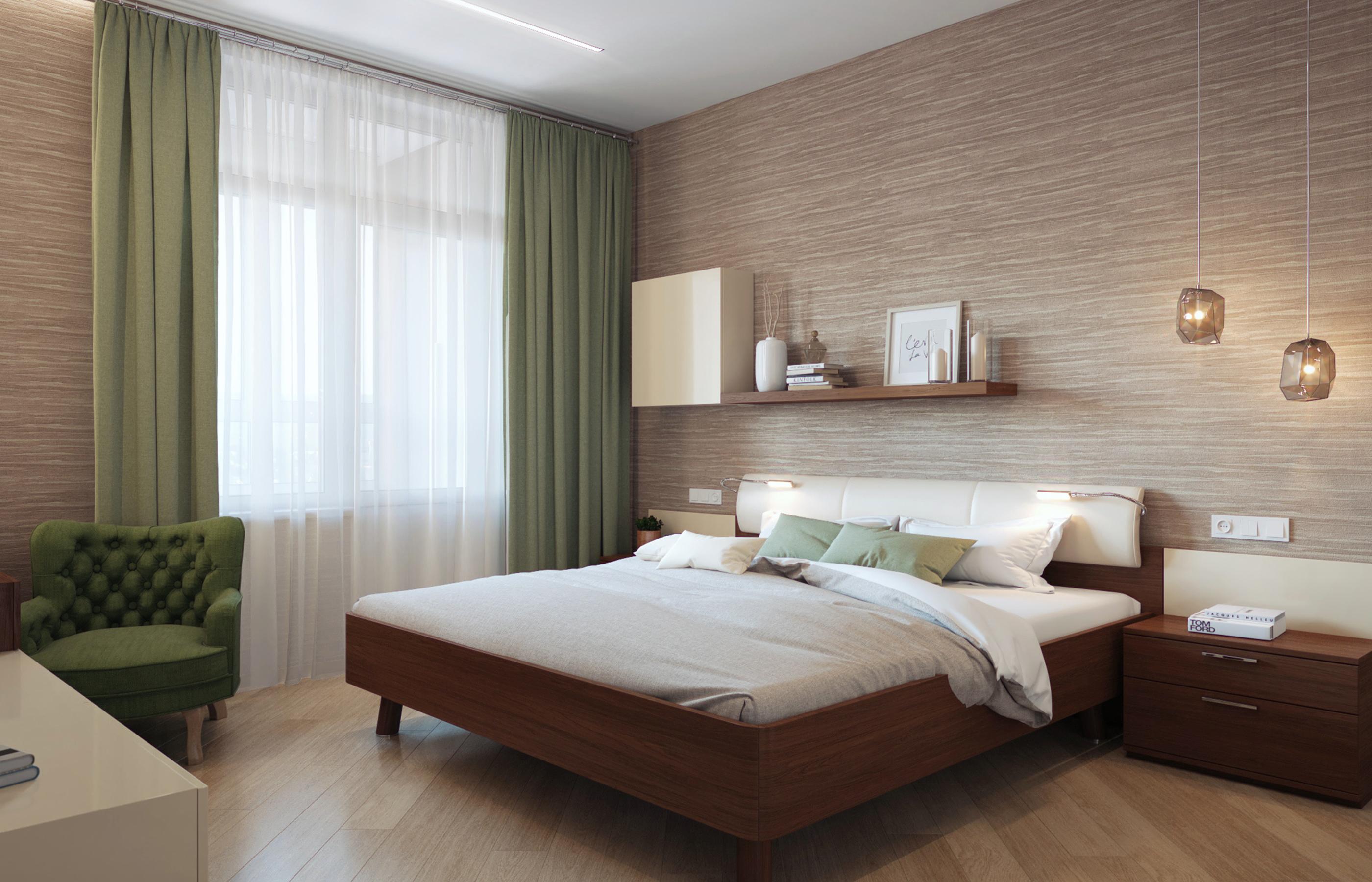 Дизайн интерьера спальни в оливково-кофейной цветовой гамме