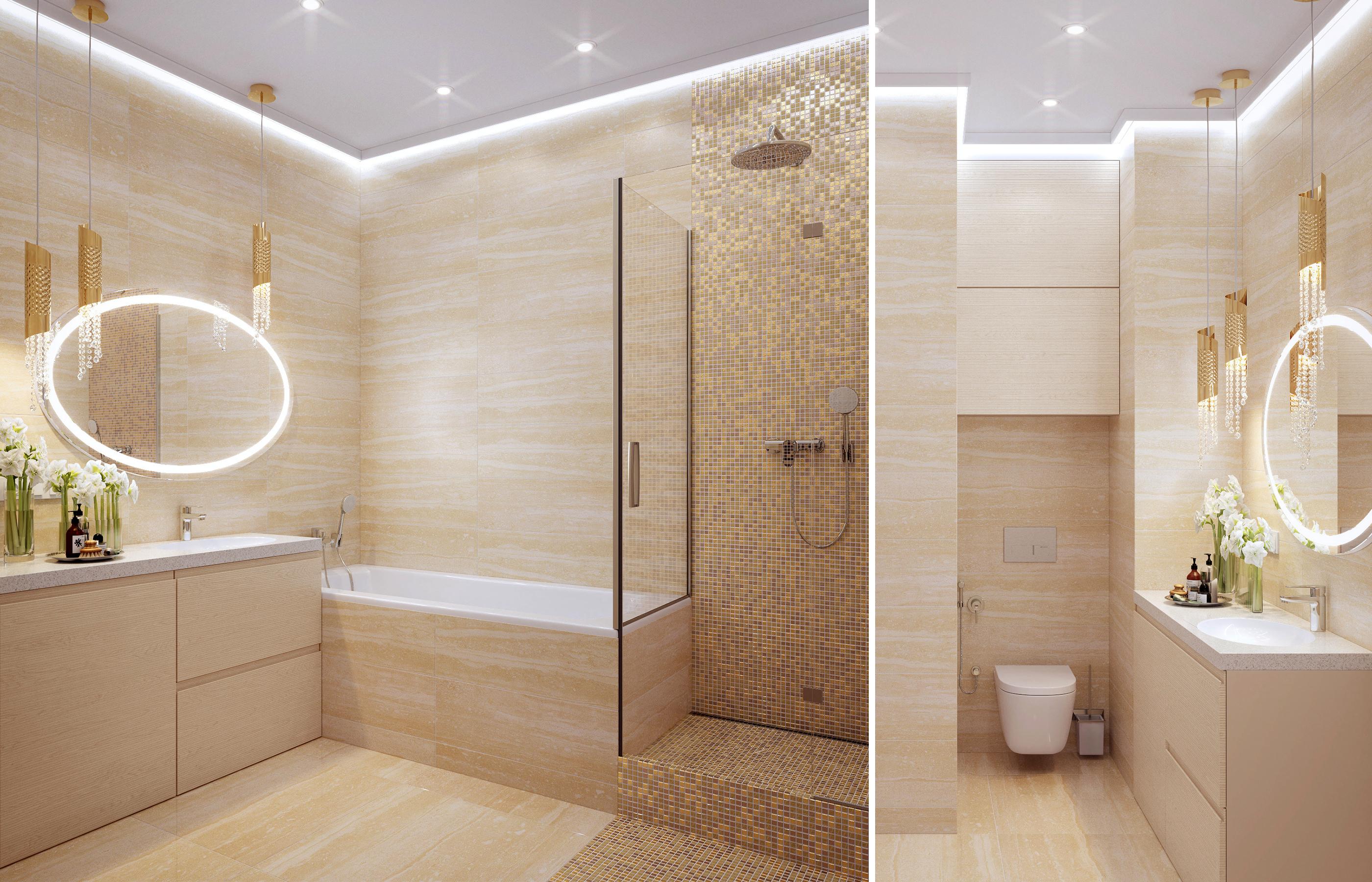 В оформлении интерьера ванной комнаты использован керамогранит итальянской фабрики FAP