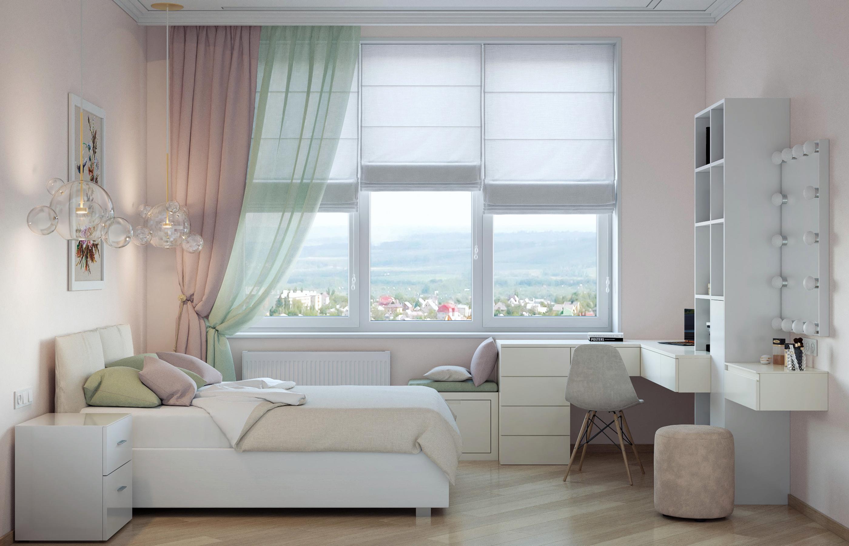 Интерьер детской комнаты для девочки в стиле минимализм