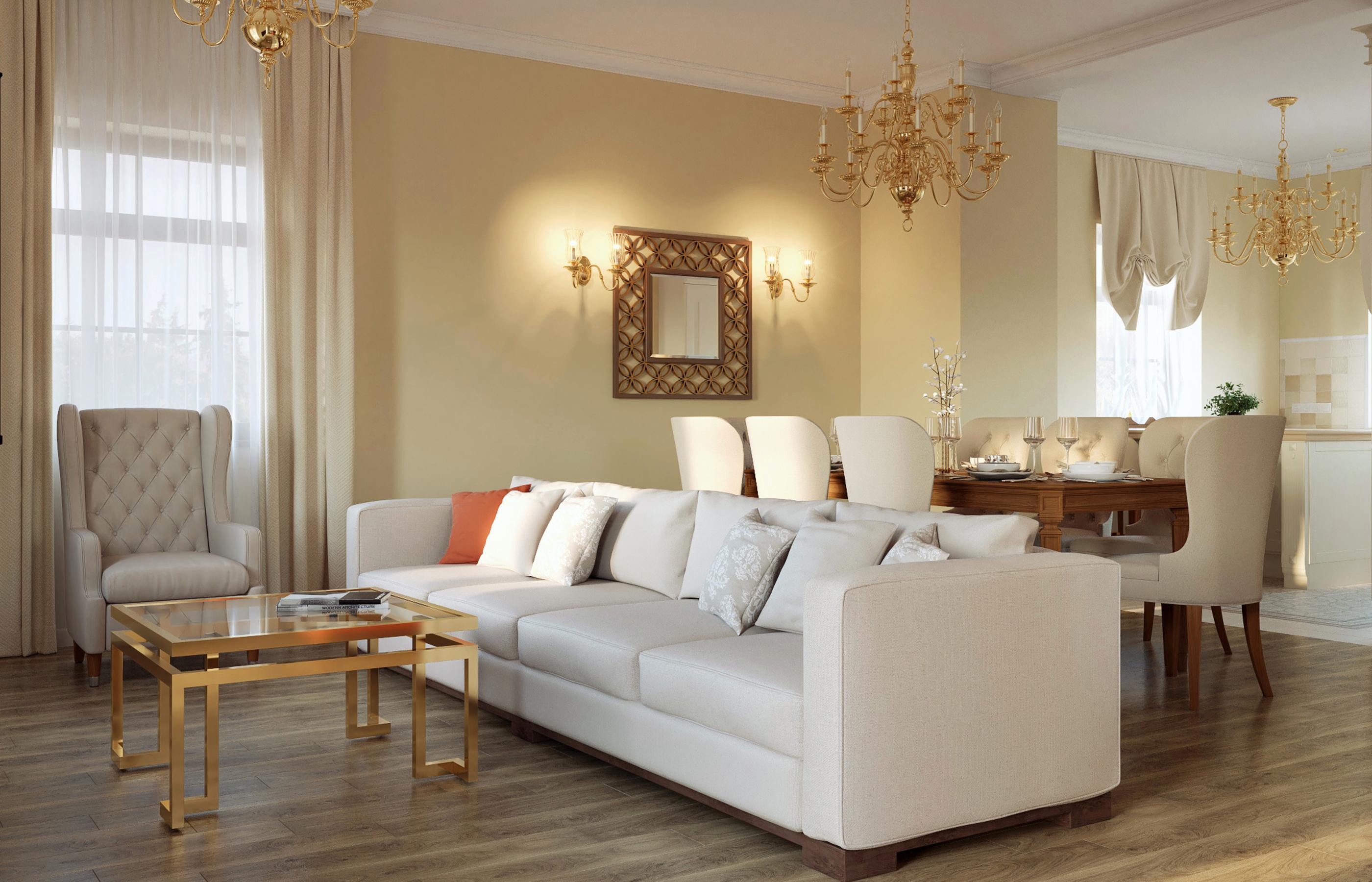 Дизайн интерьера гостиной. Коттеджный поселок
