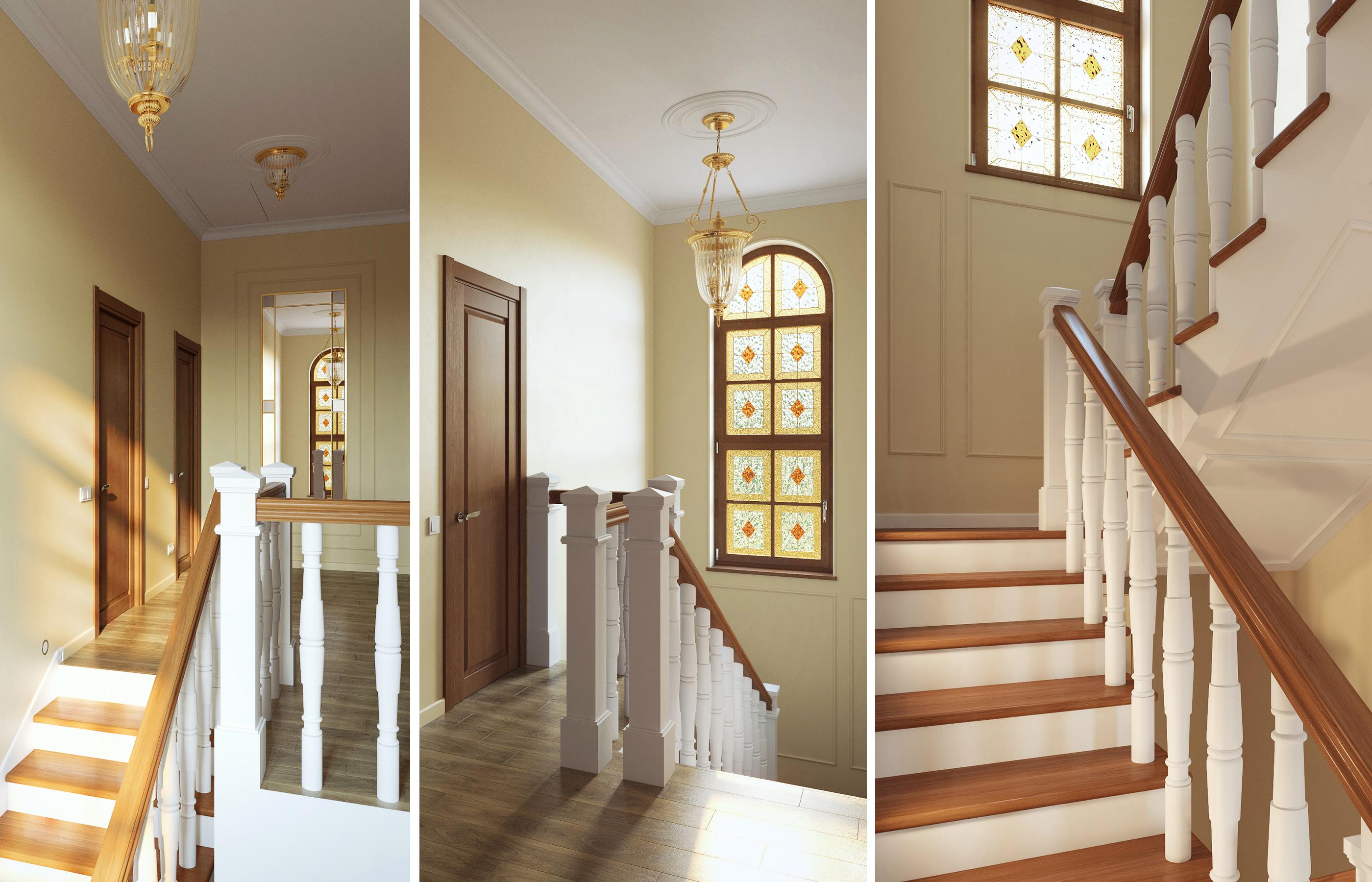 Дизайн интерьера холла с белой деревянной лестницей