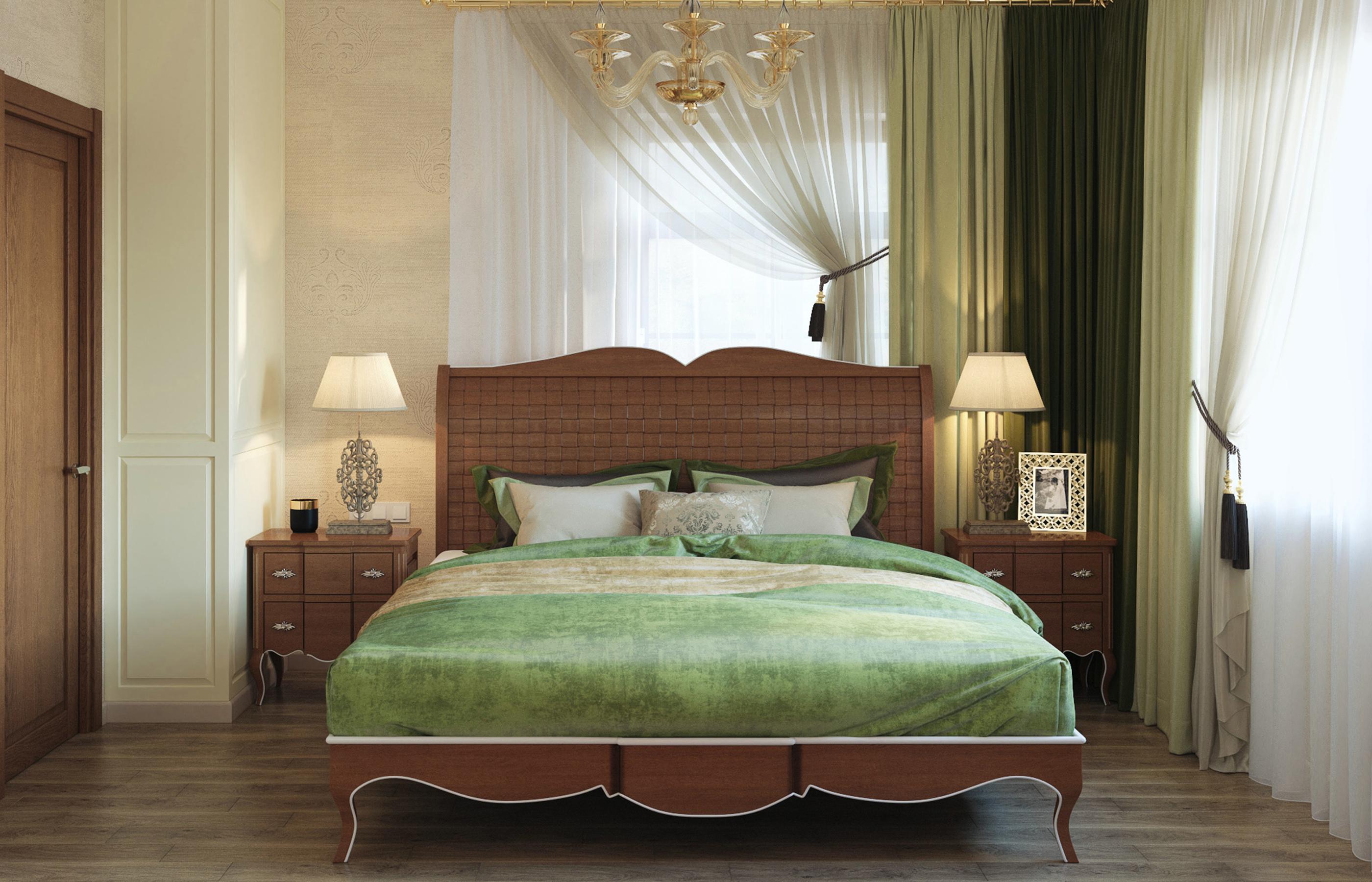 Интерьер спальни в оливково-золотистой цветовой гамме