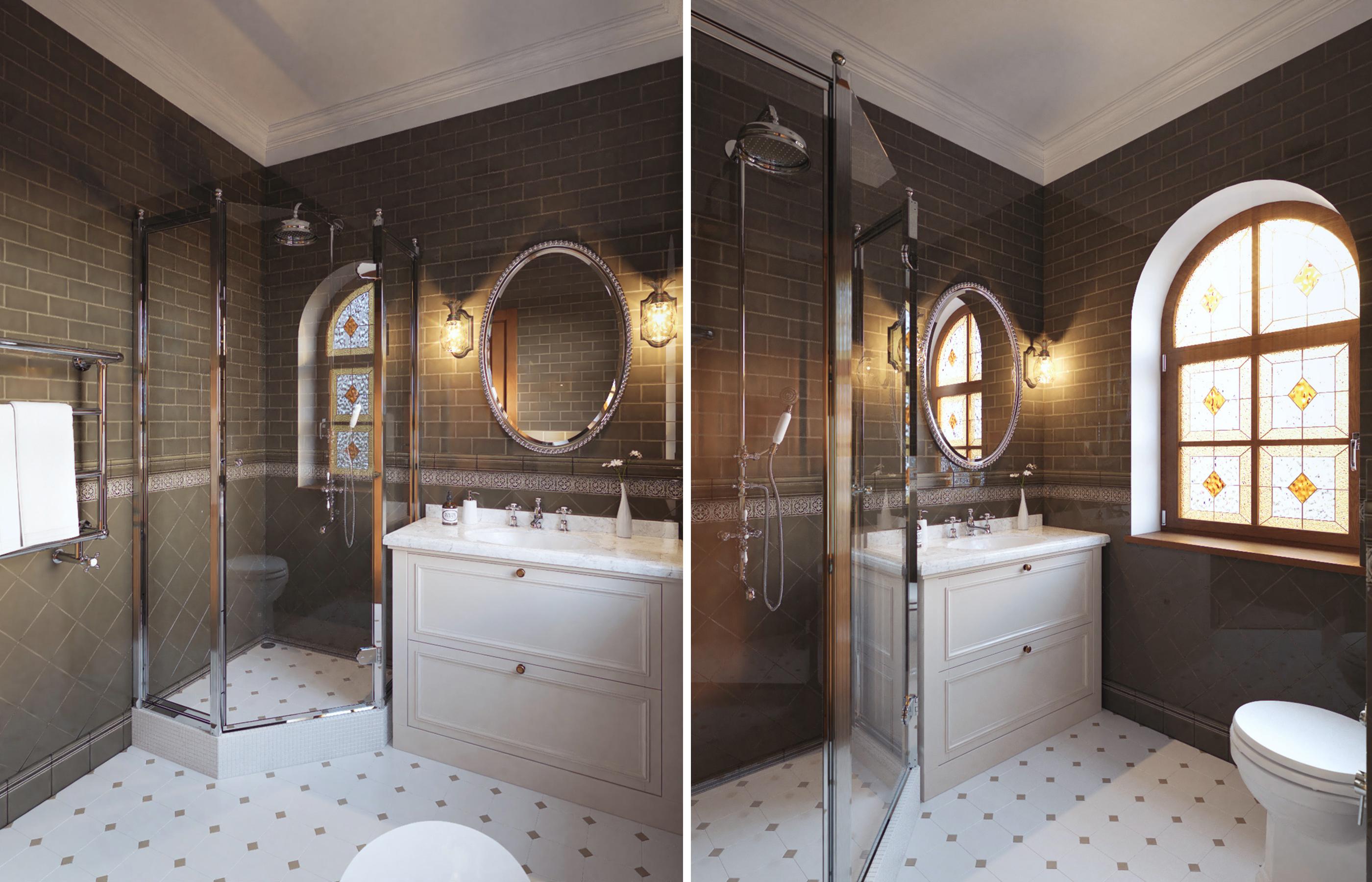 Интерьер ванной комнаты при хозяйской спальне