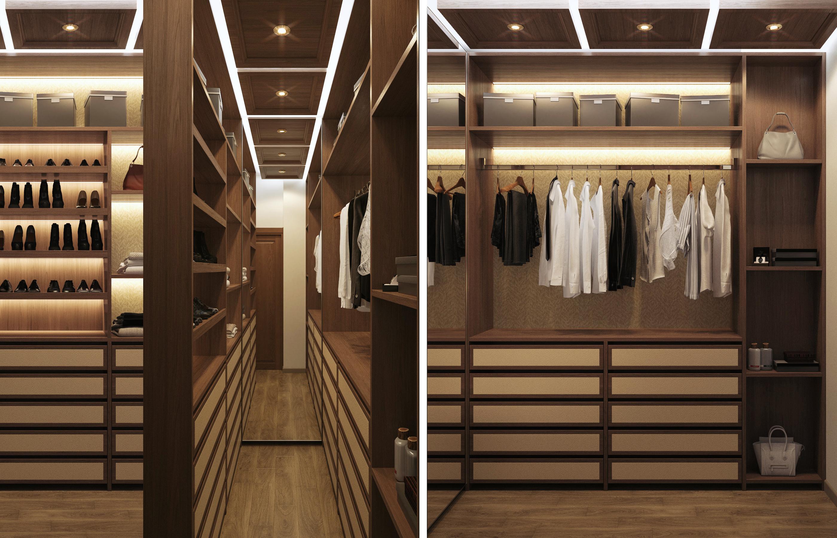 Интерьер гардеробной с кессонными потолками
