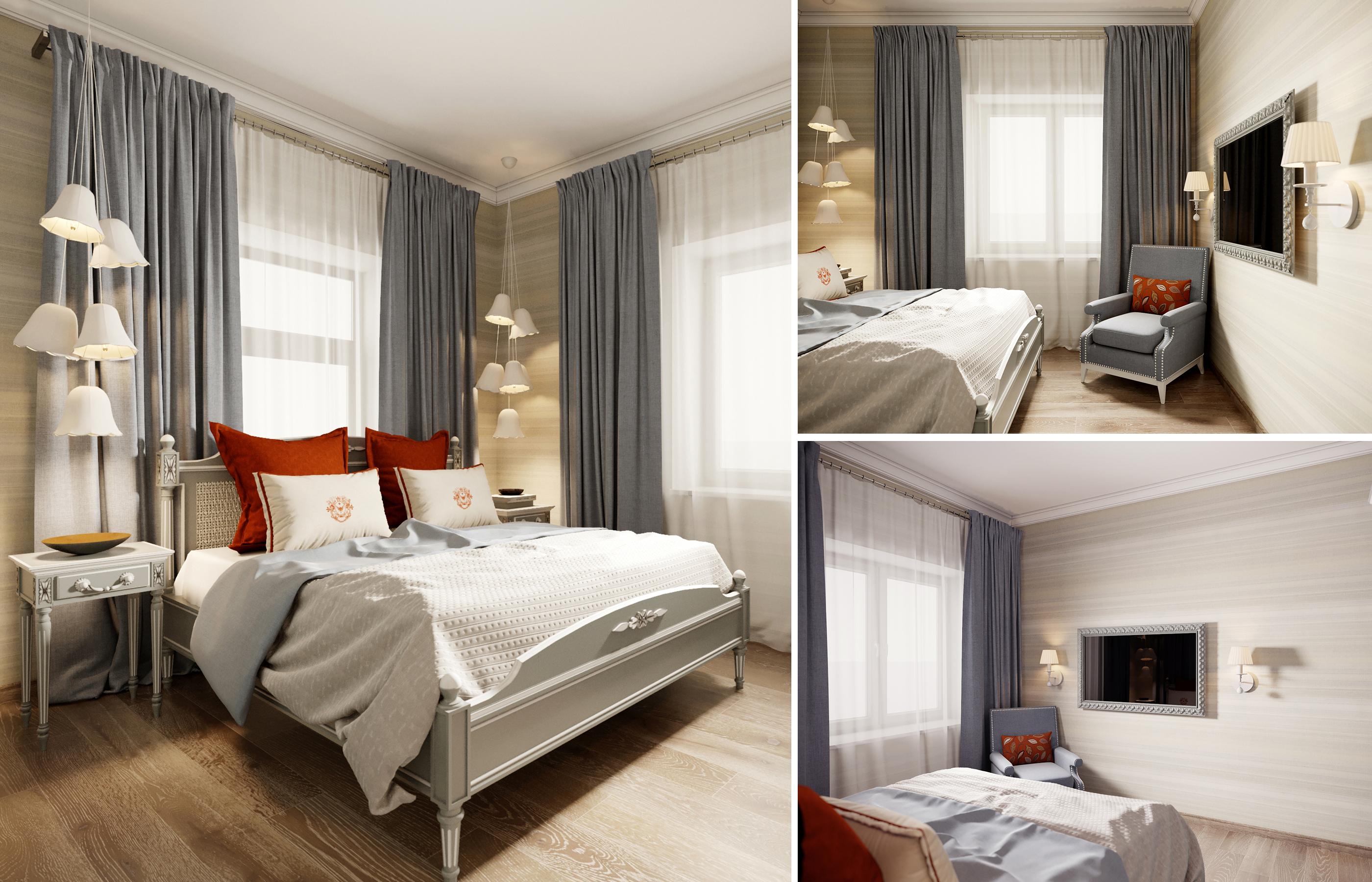 Интерьер спальни в сдержано-спокойной цветовой гамме с сочными акцентами