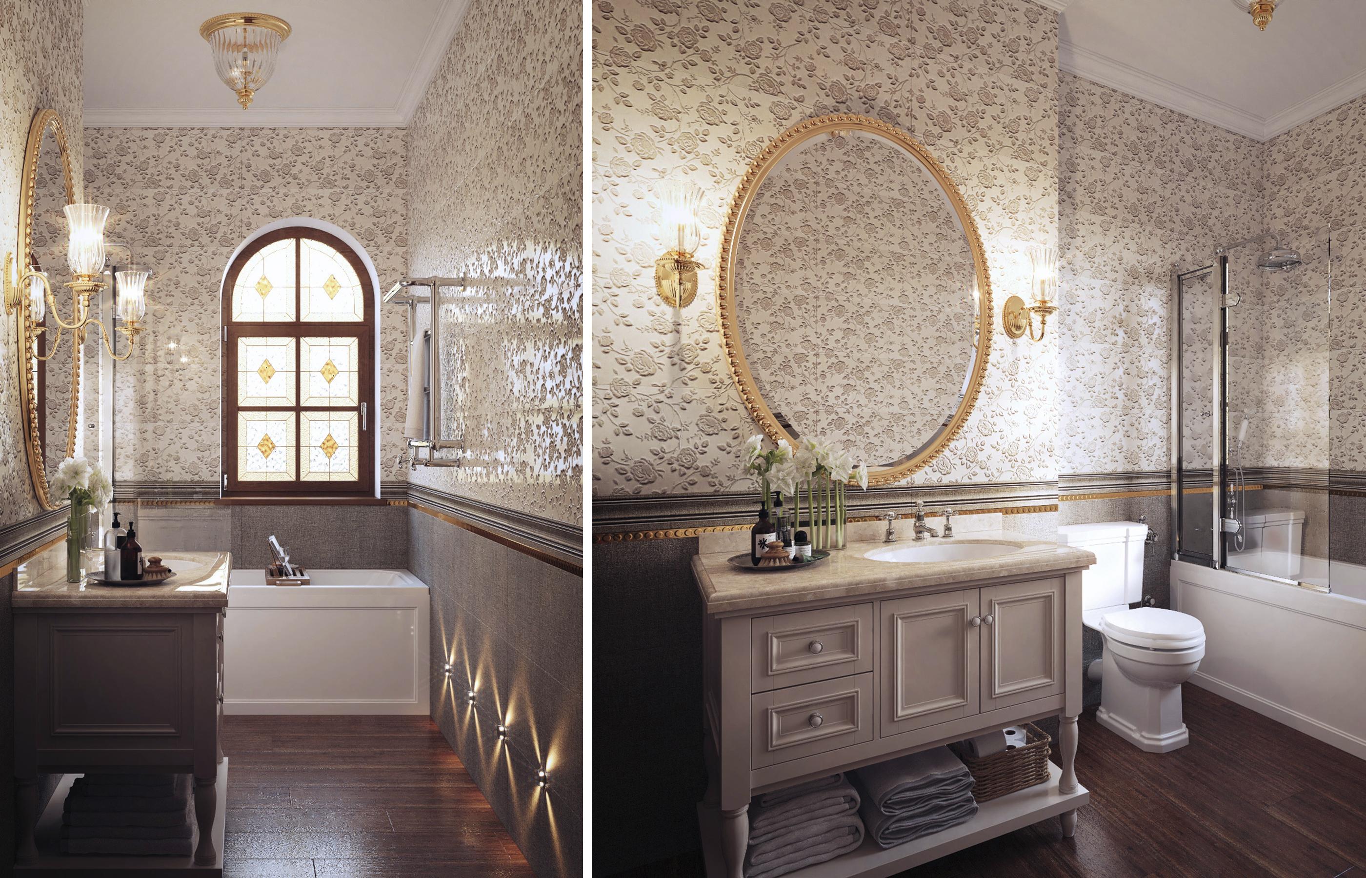 Витражные вставки в окне создают в интерьере ванной комнаты всегда солнечное освещение
