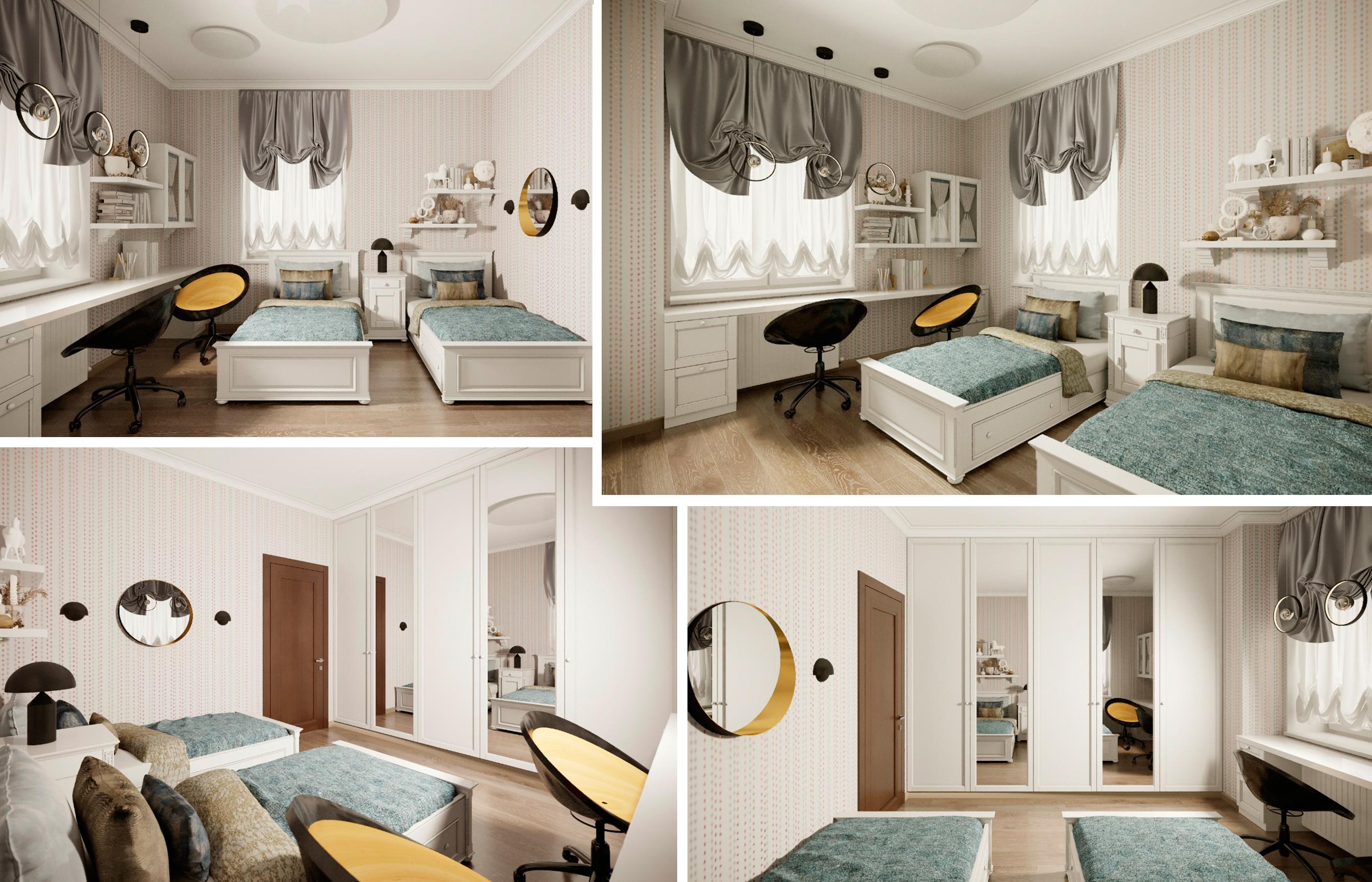 Интерьер детской комнаты в черно-белой цветовой гамме