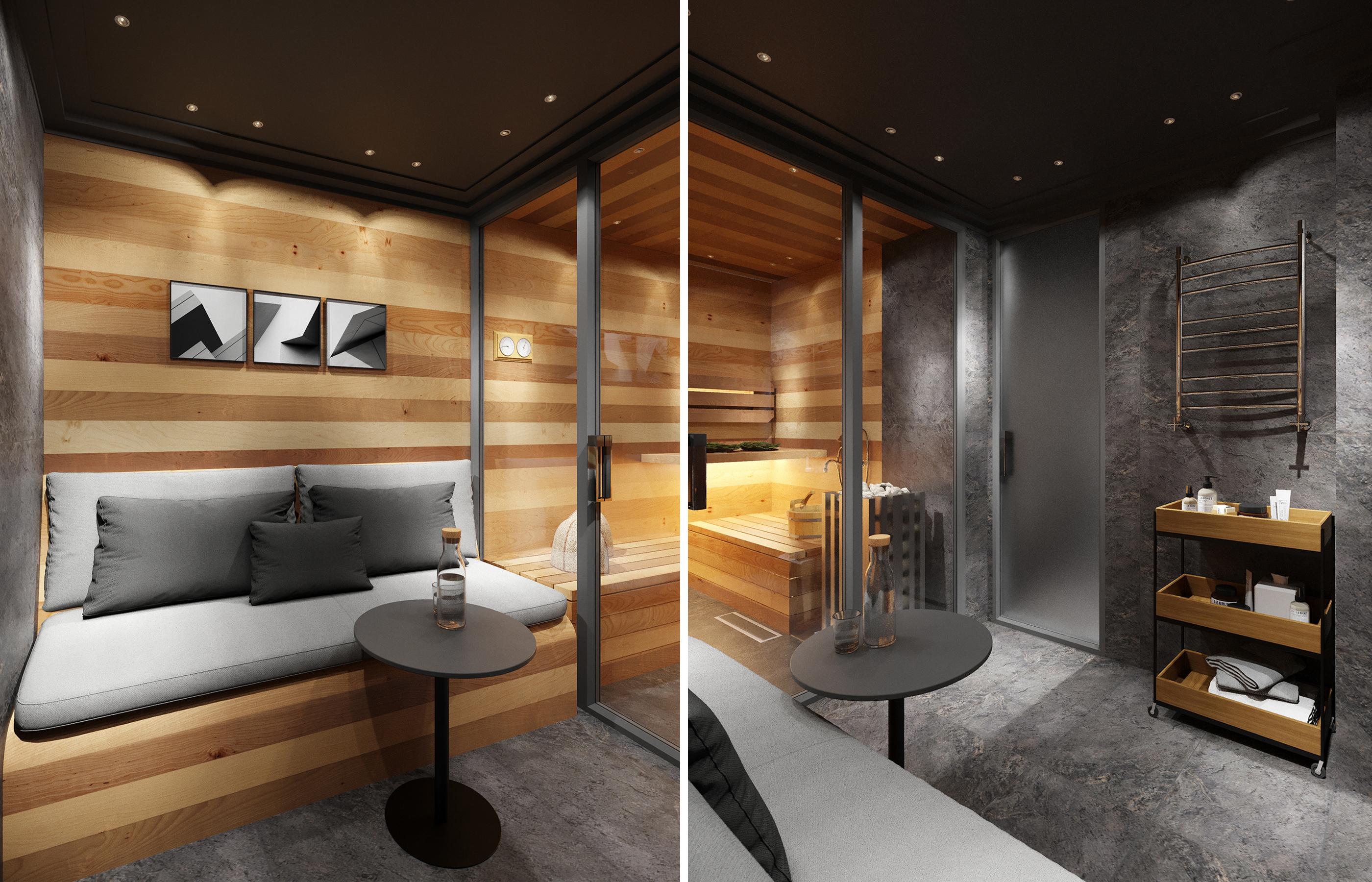 Дизайн интерьера сауны и зоны отдыха со стеклянной перегородкой