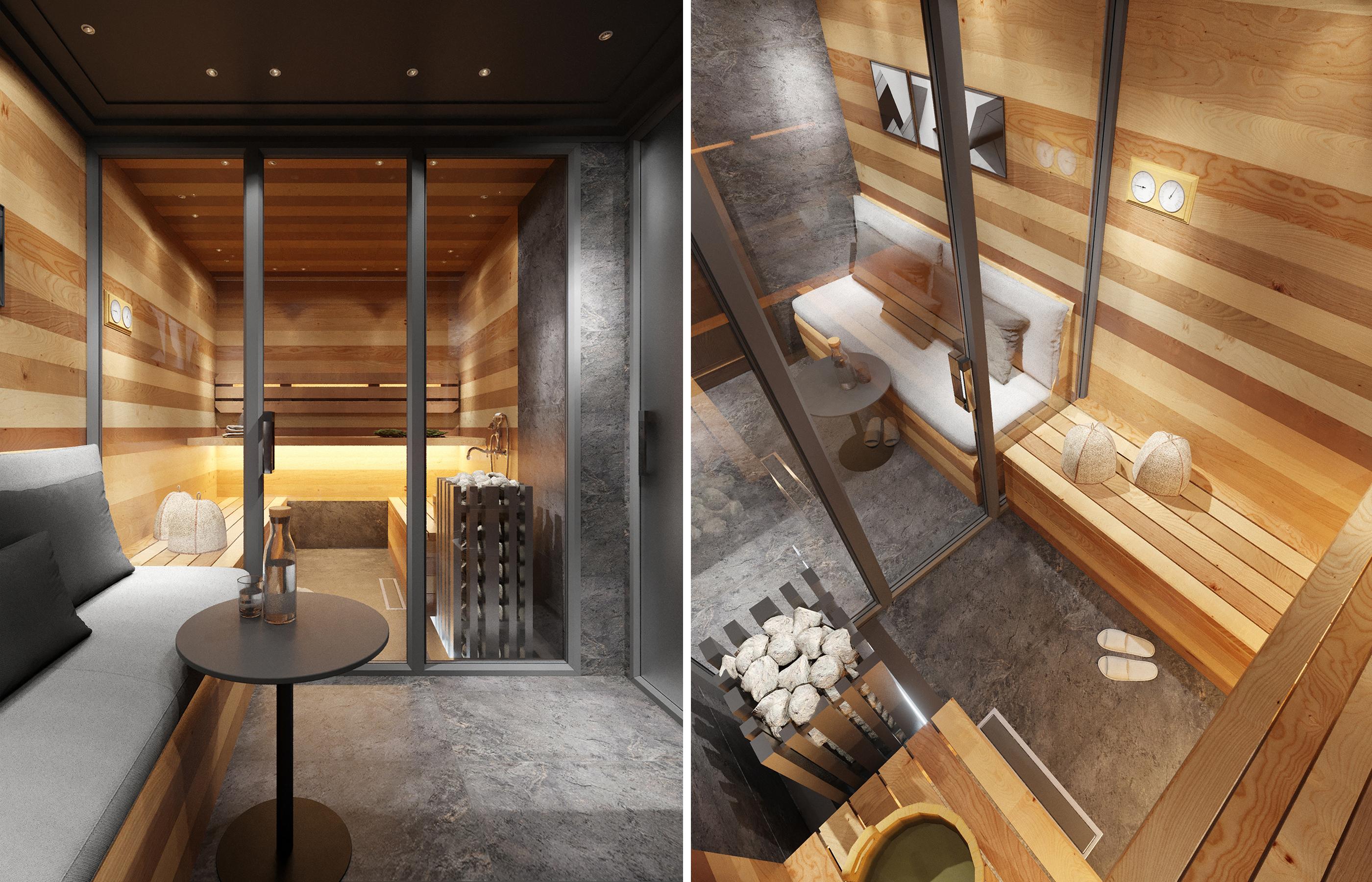 Дизайн интерьера сауны в стиле минимализм