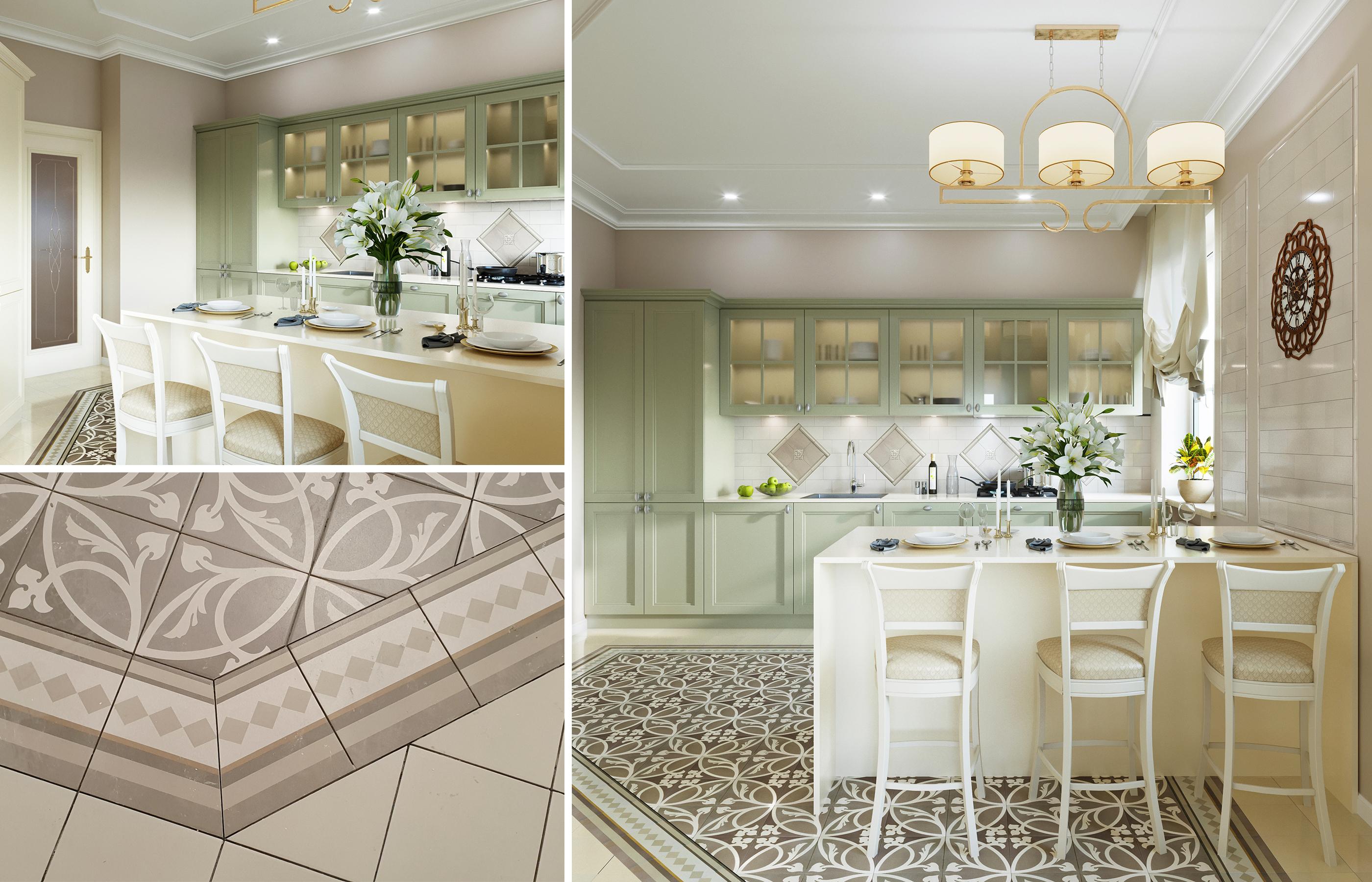 Пол выложен плиткой со сложным растительным орнаментом. Сложная геометрия напольного рисунка требует особой точности при укладке плитки.