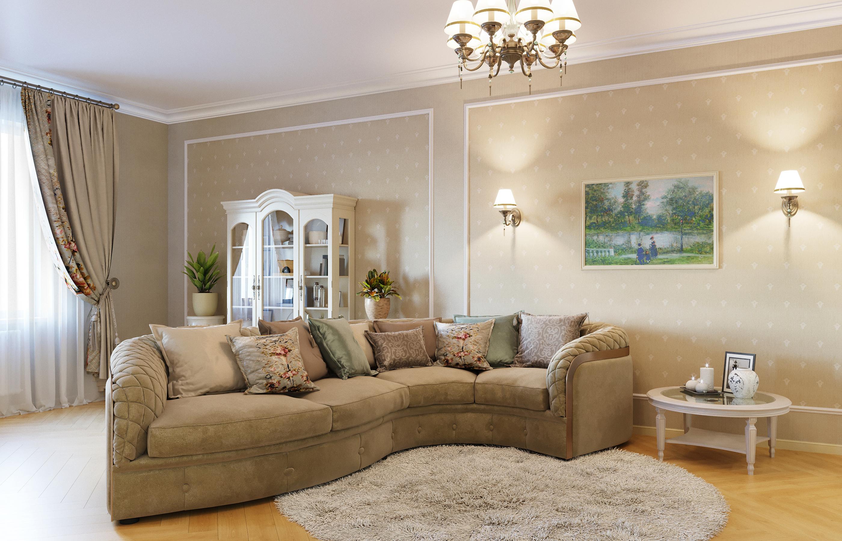 Стены гостиной оклеены текстильными обоями. Этот материал позволяет снизить гулкость помещения и избавиться от эха.