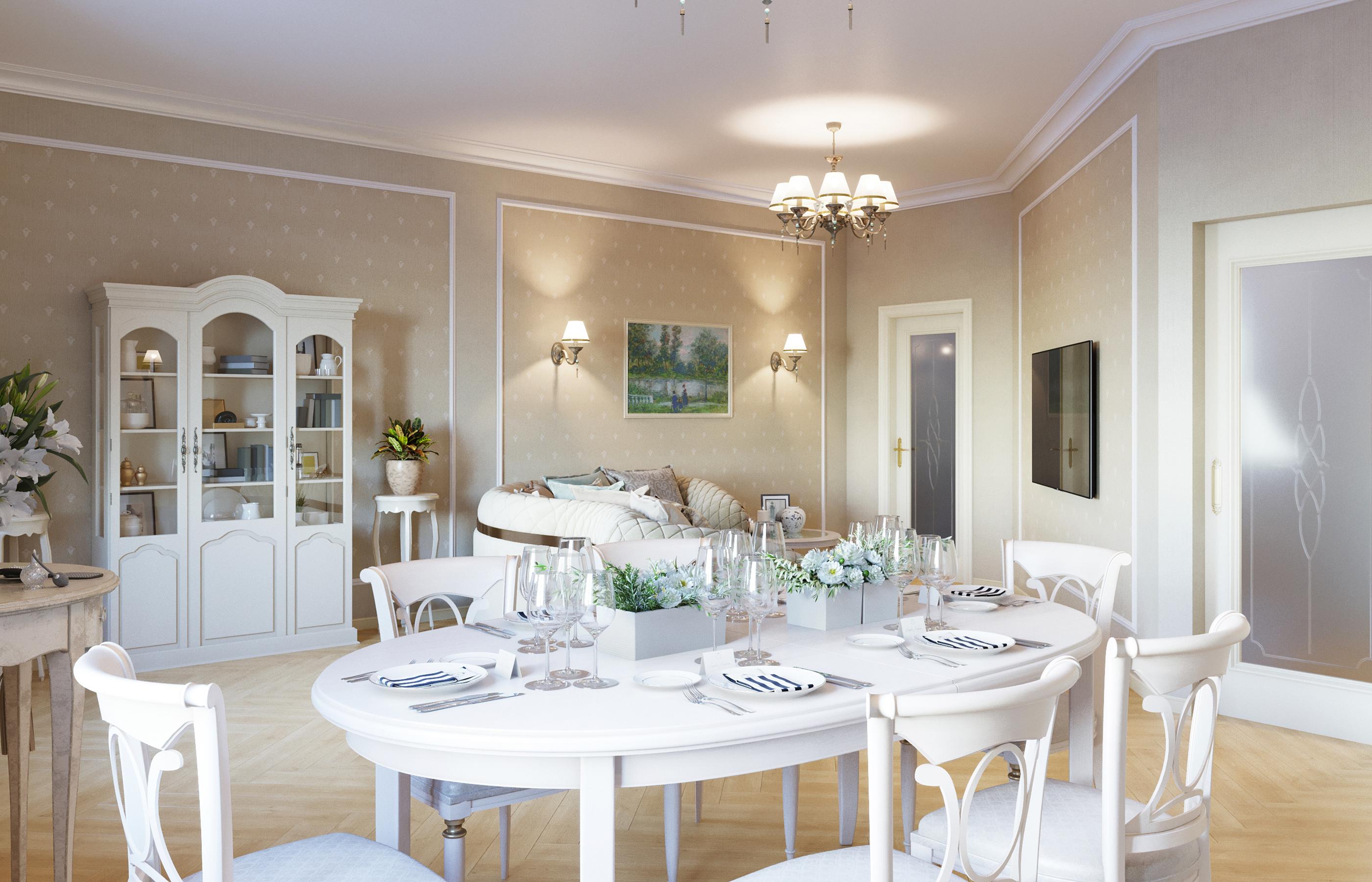 Дизайн интерьера гостиной в неоклассическом стиле