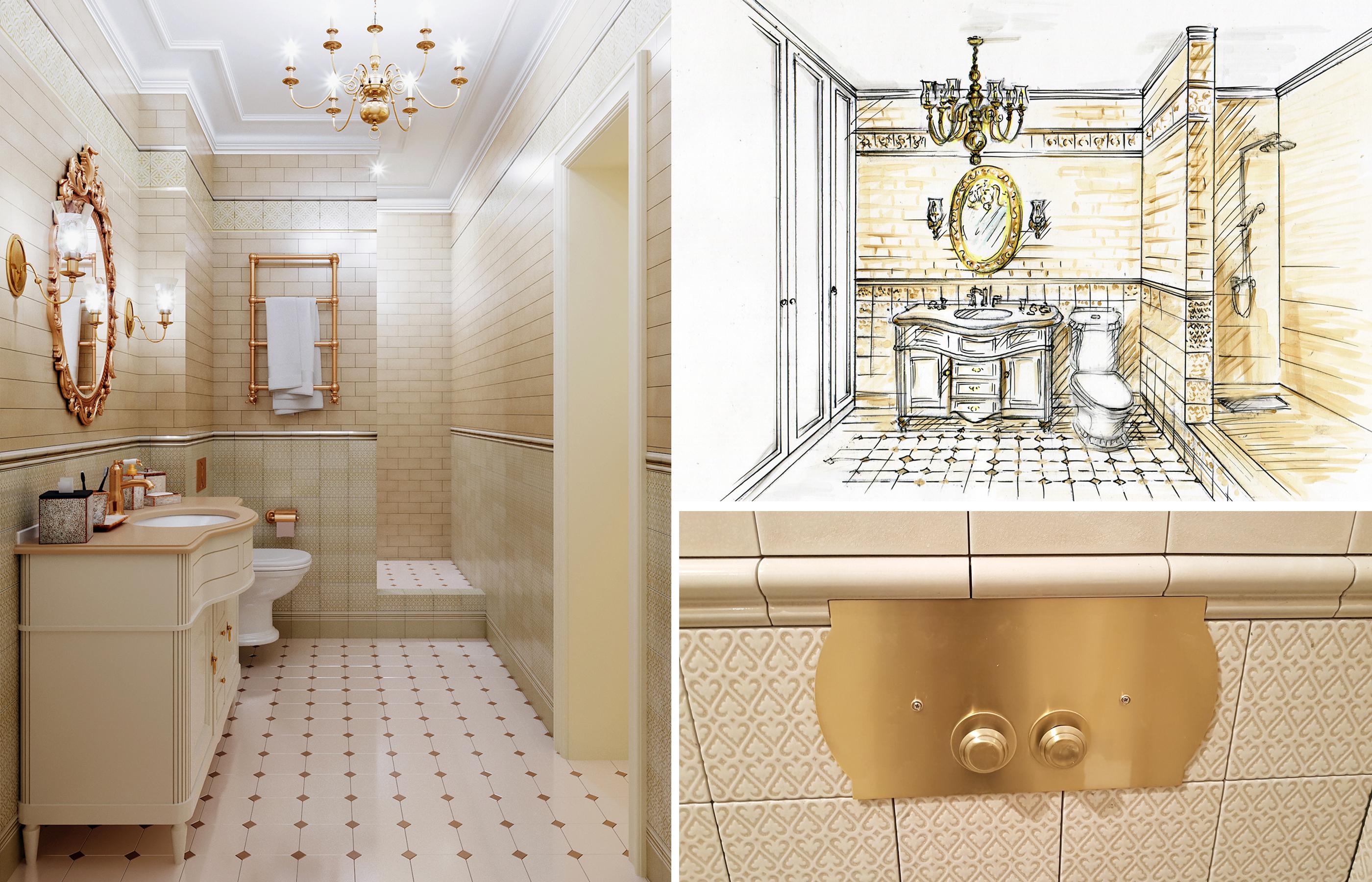 Процесс от эскиза до реального воплощения ванной комнаты
