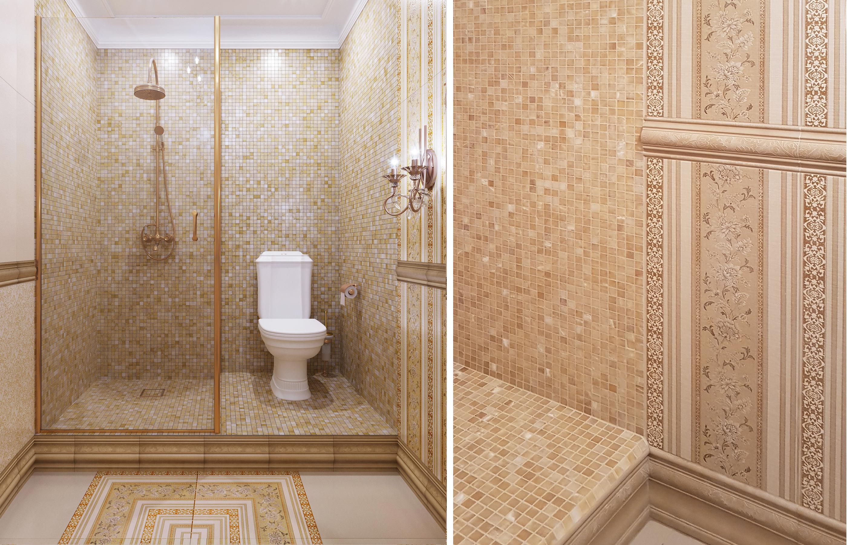 Дизайн интерьера ванной комнаты с мозаикой из натурального оникса