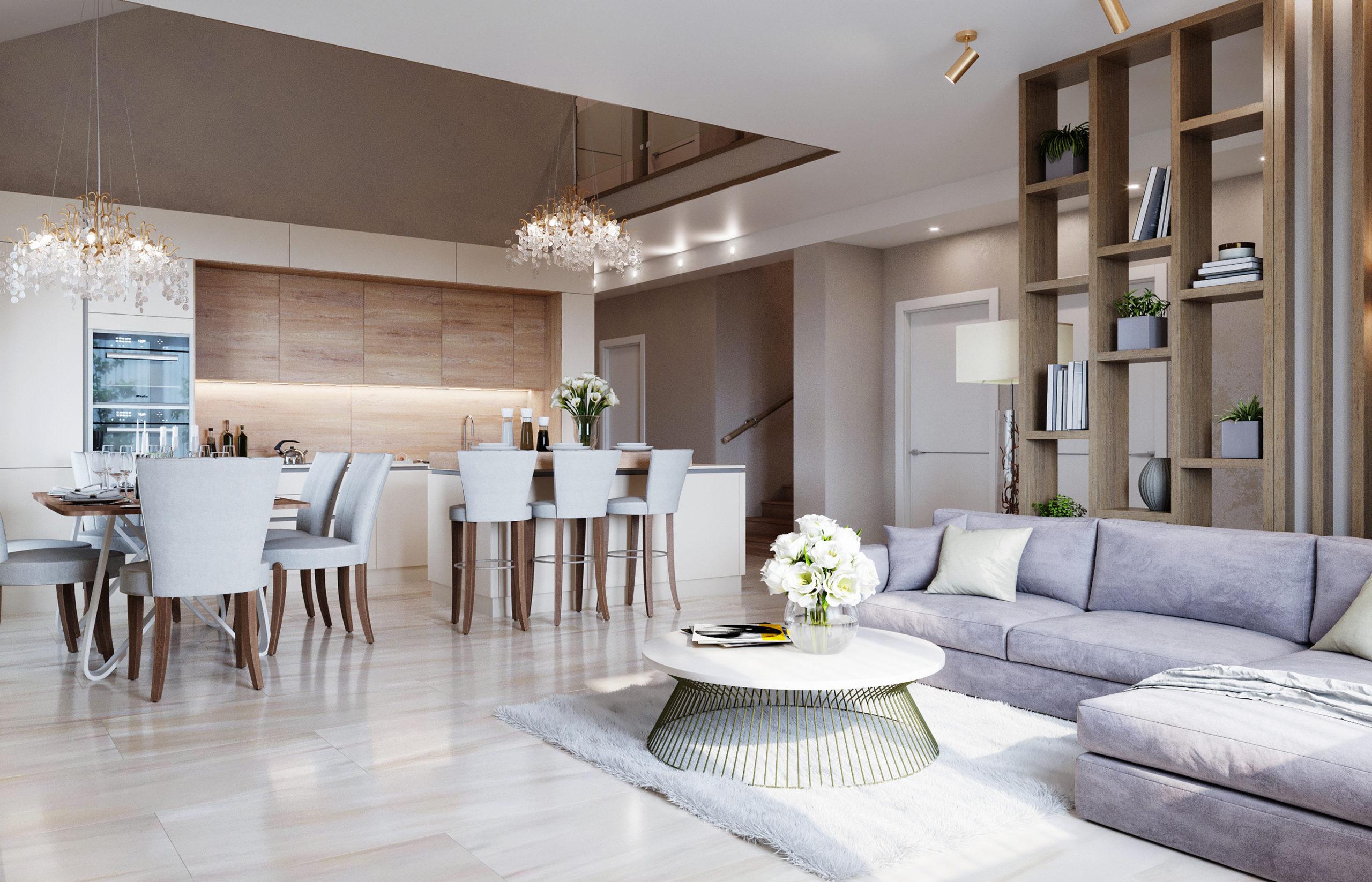 Кухня-гостиная с высоким потолком на два этажа
