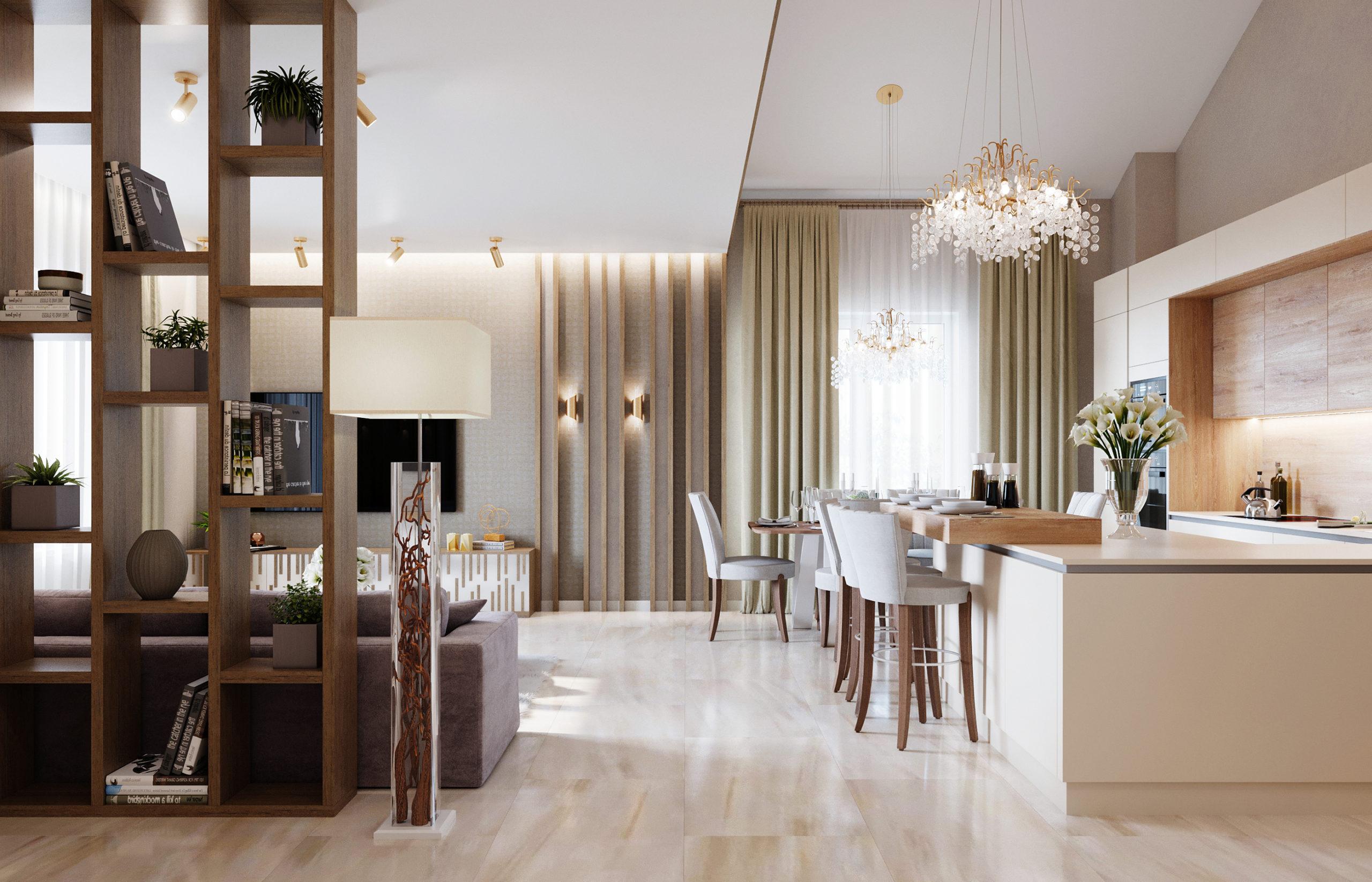 Кухонный остров - основной центр притяжения в интерьере этой гостиной в стиле Хюгге