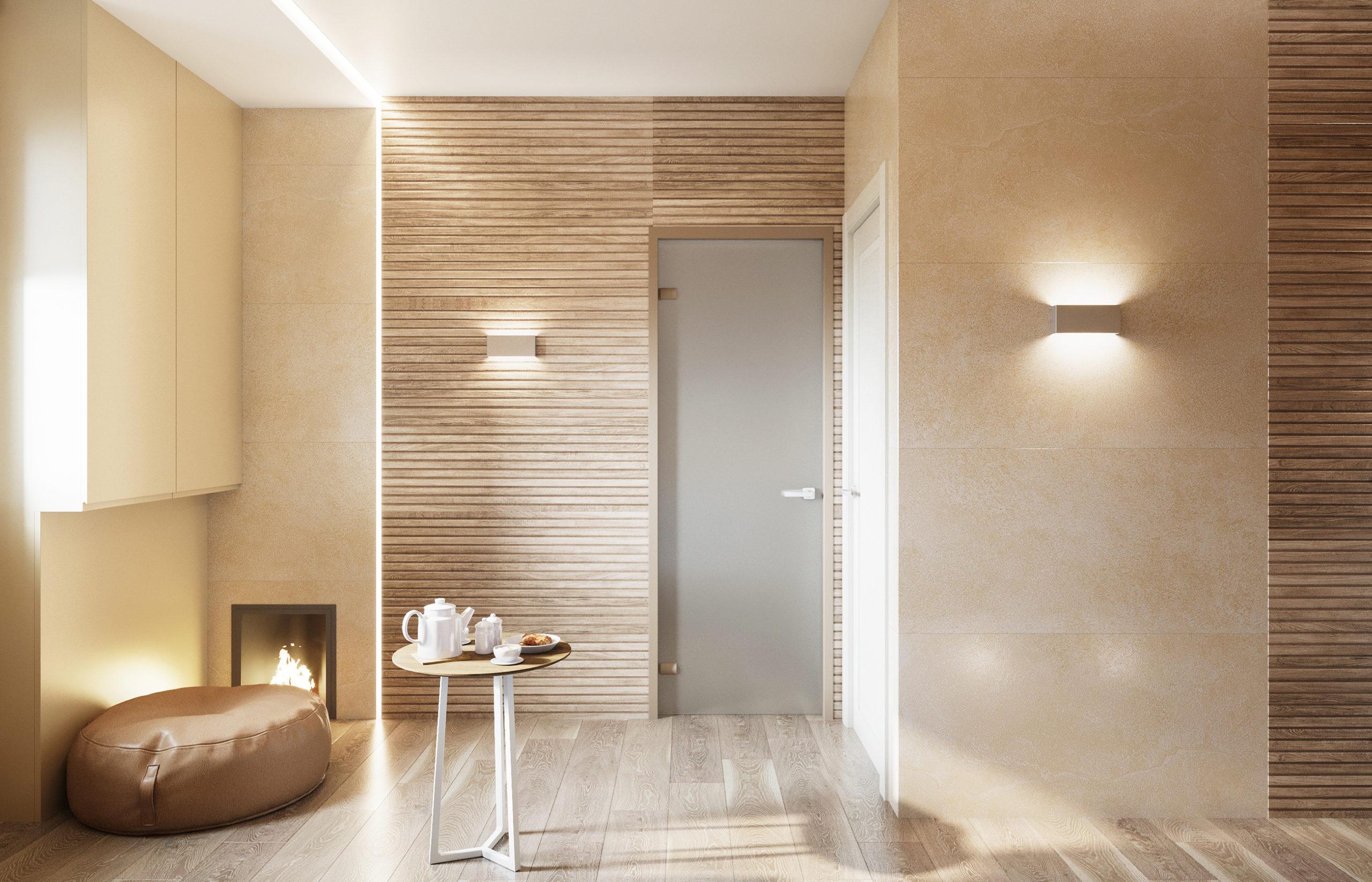 Газовый котел в минималистичном обрамлении становится похожим на камин и делает интерьер бани еще более теплым и уютным