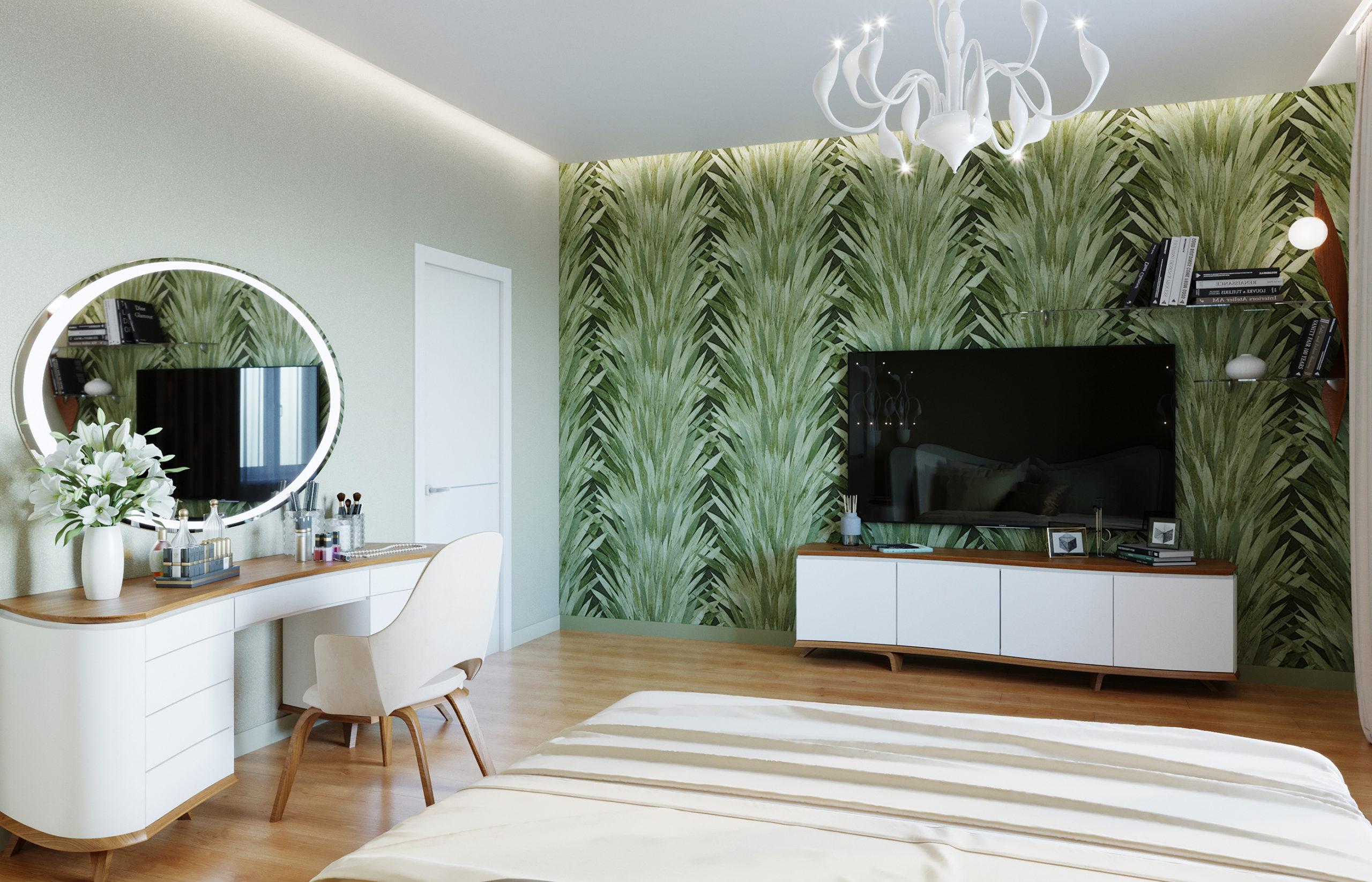 Обои с тропическим рисунком в интерьере спальни