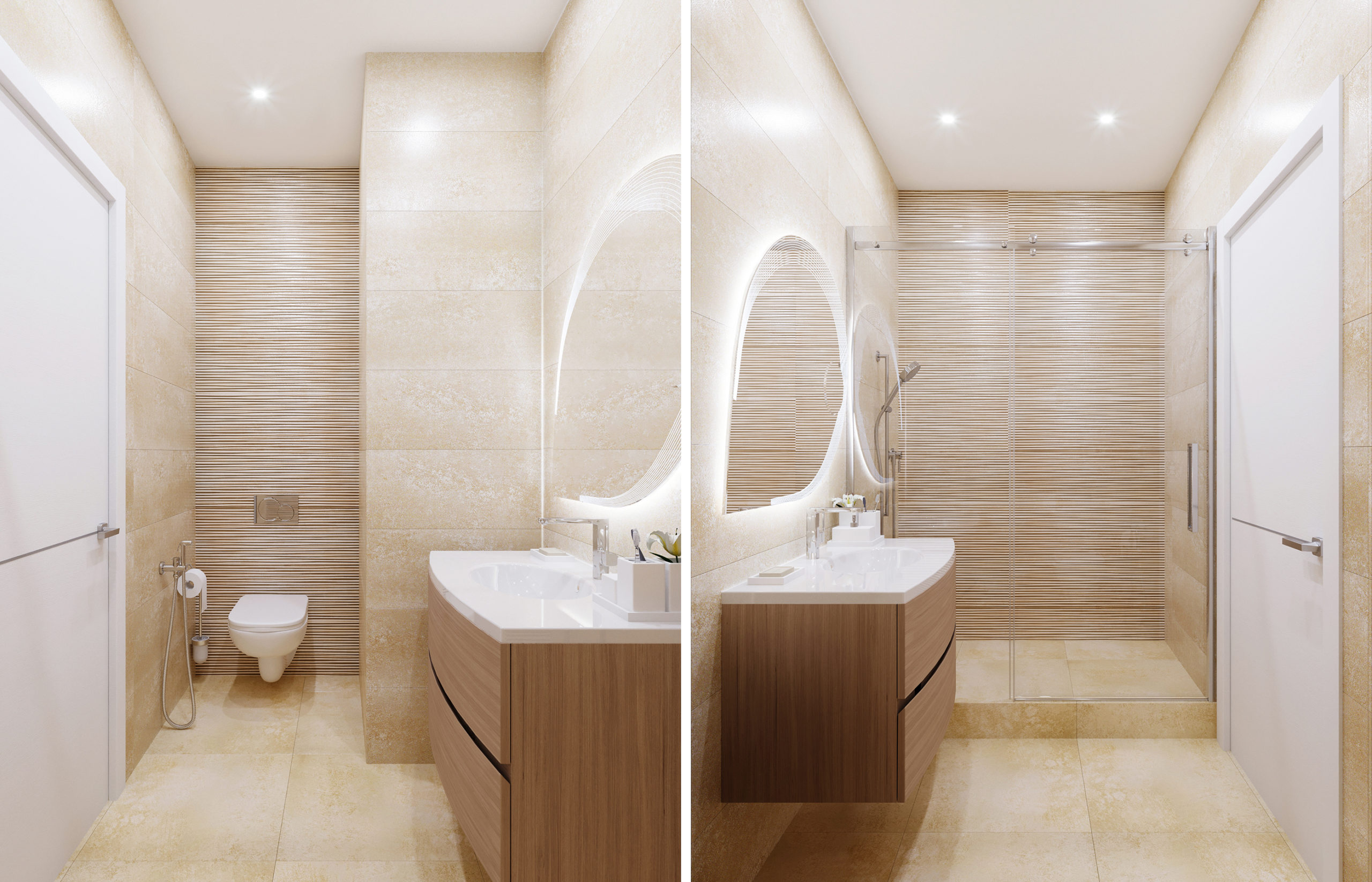 Интерьер ванной комнаты в бежево-песочных цветах