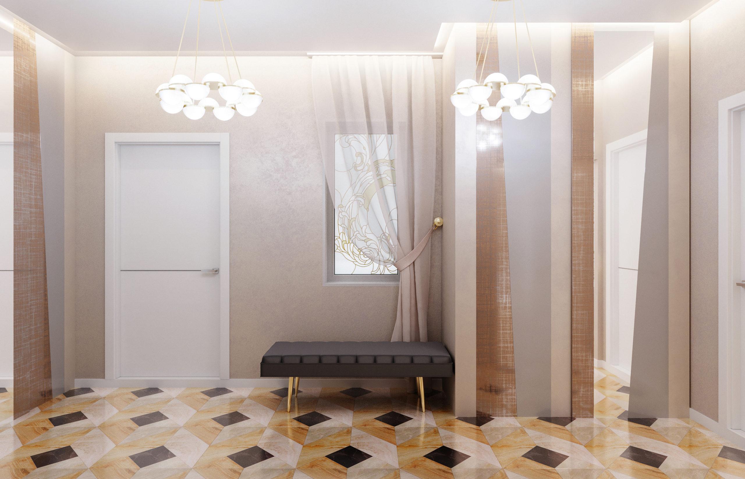 Шкафы в прихожей с фасадами в виде декоративных панелей из фактурного стекла