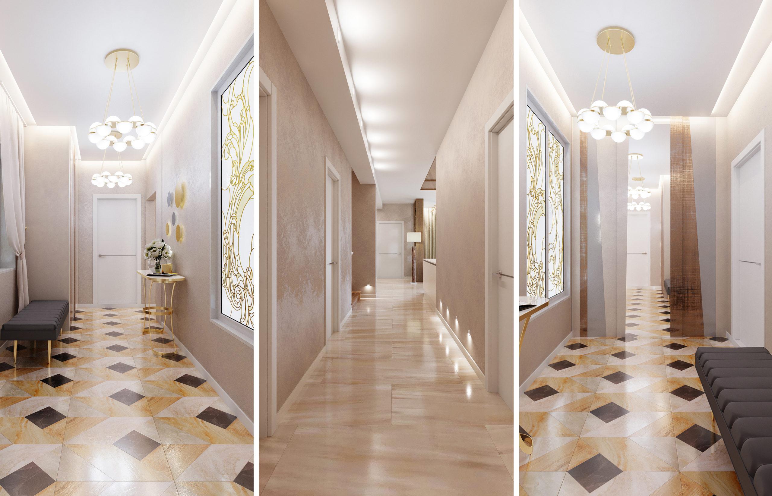 Дизайн интерьера прихожей с витражными окнами