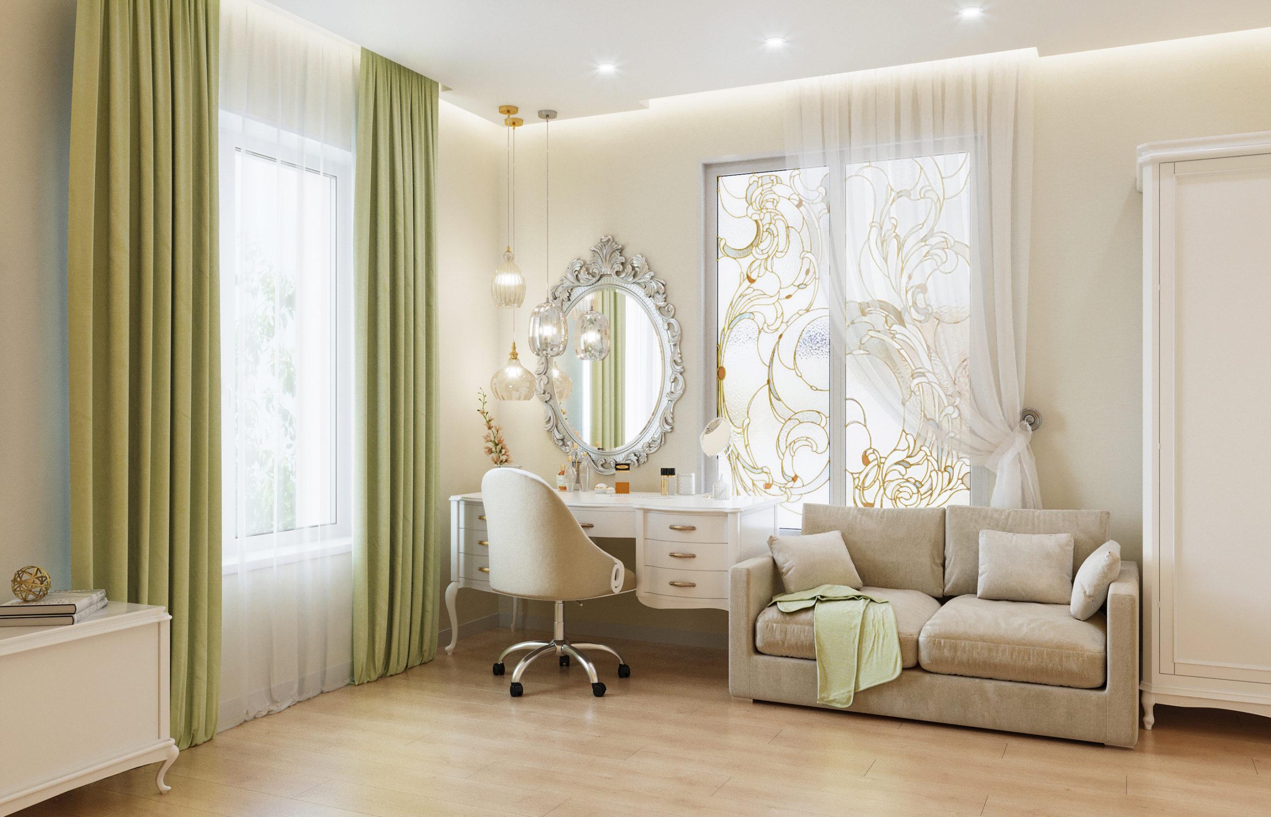 Витражное окно в интерьере спальни