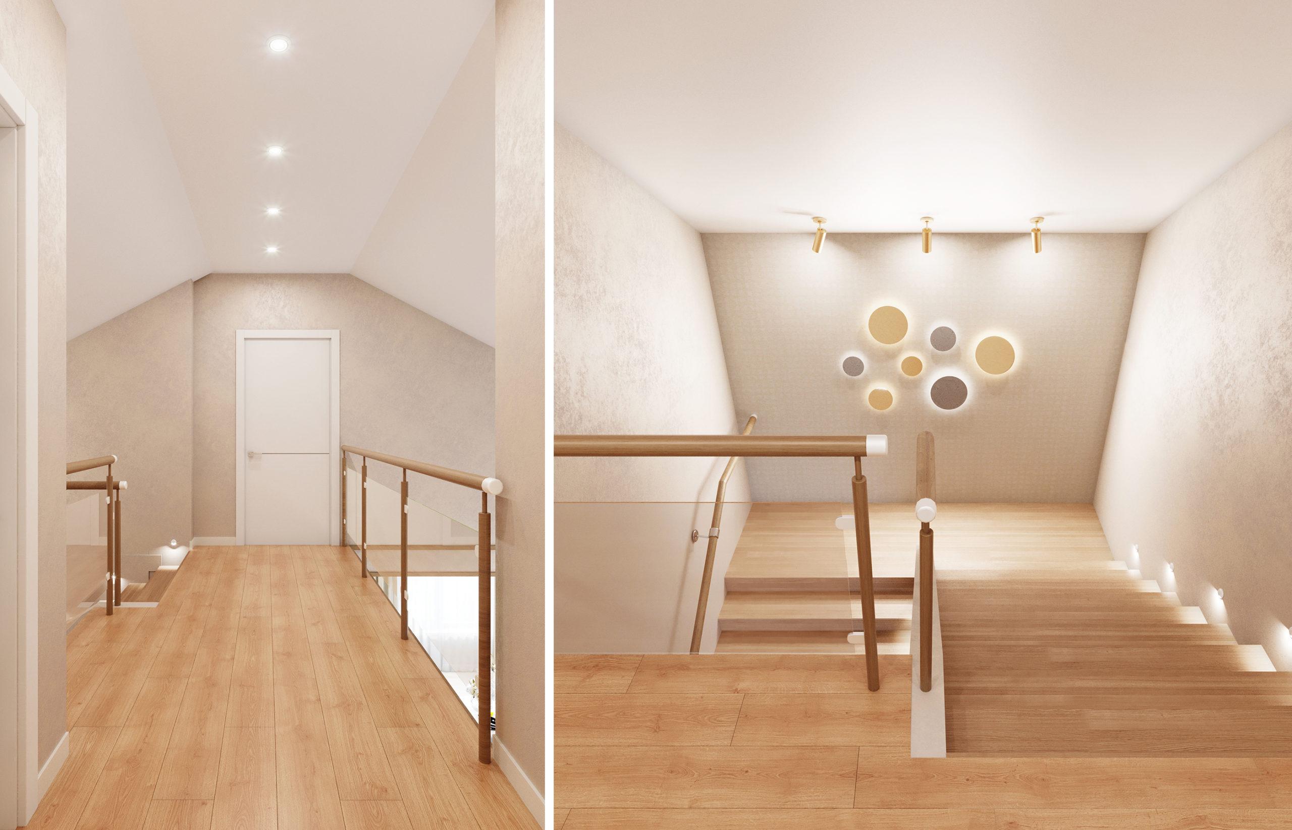 Дизайн интерьера холла со стеклянными перилами