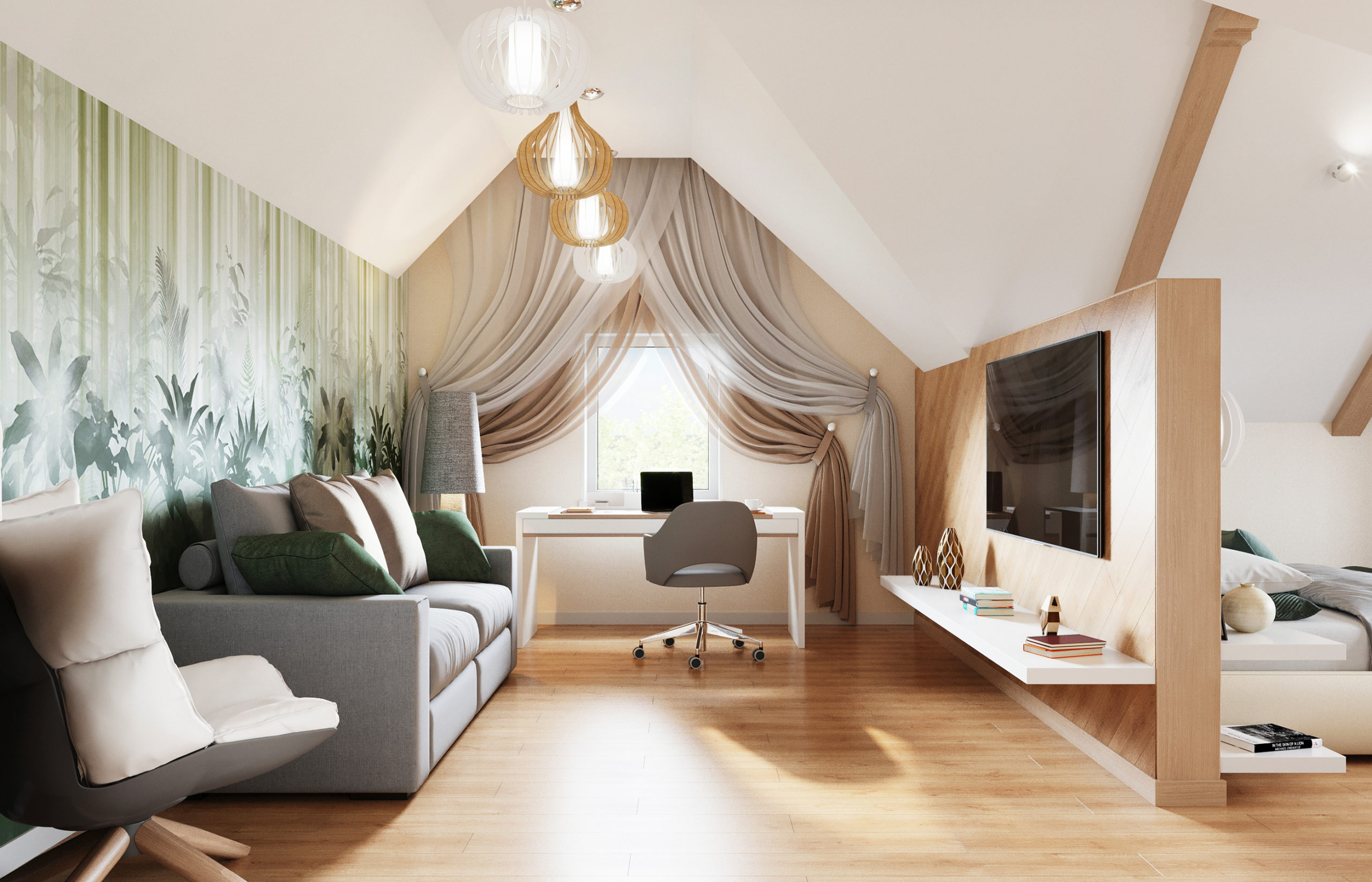 Комната молодого человека поделена на зону отдыха и рабочий кабинет