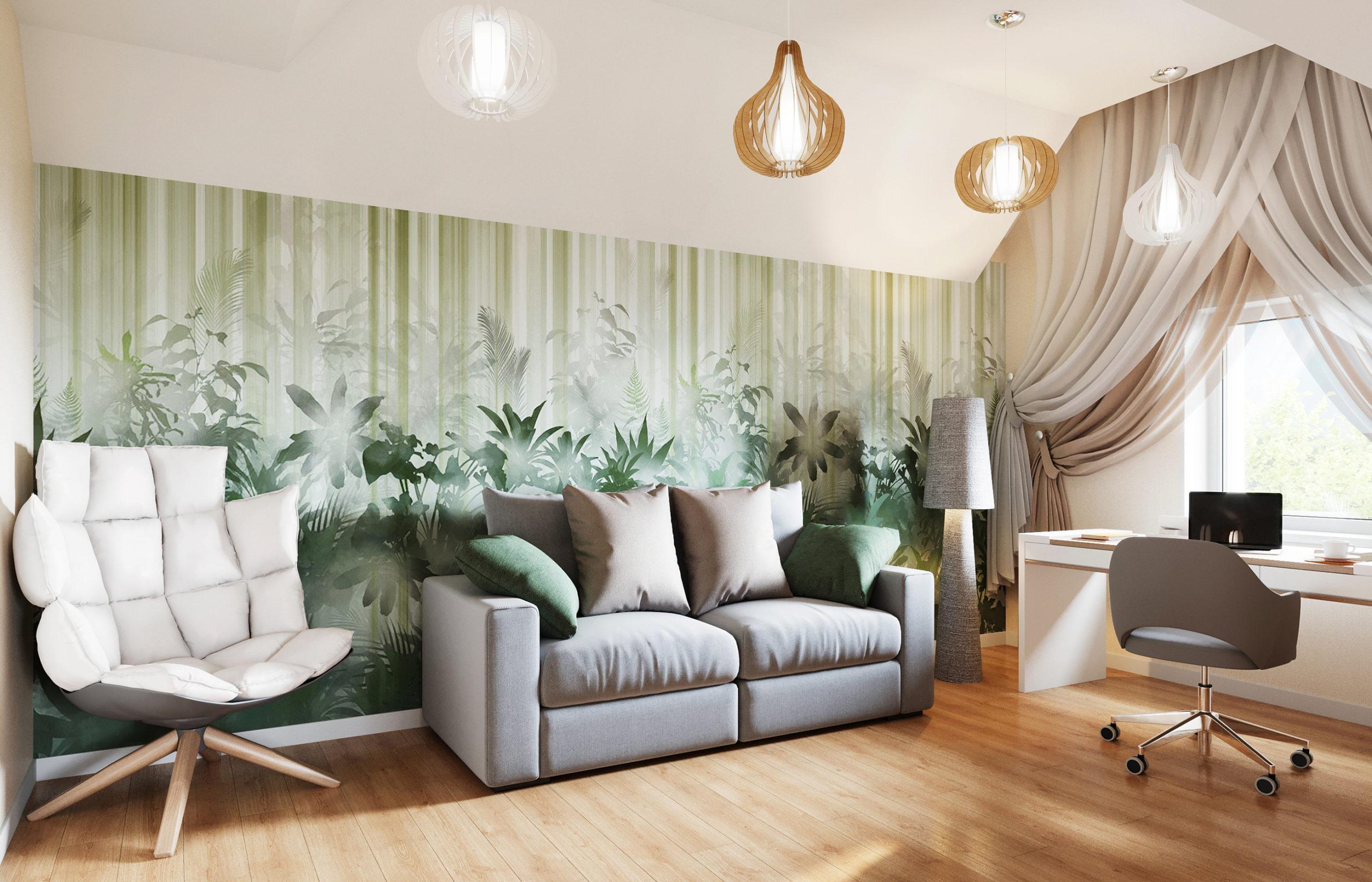 Мягкие прохладные оттенки, текстура дерева в отделке помогают смягчить жесткую геометрию мансардного помещения