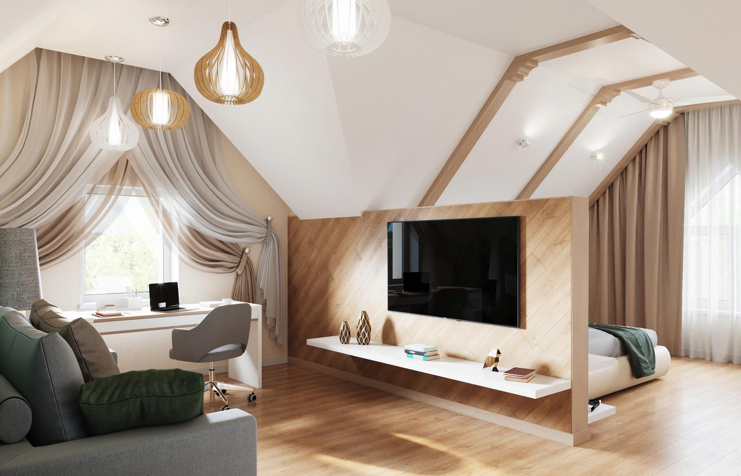 Дизайн интерьера комнаты молодого человека в мансарде