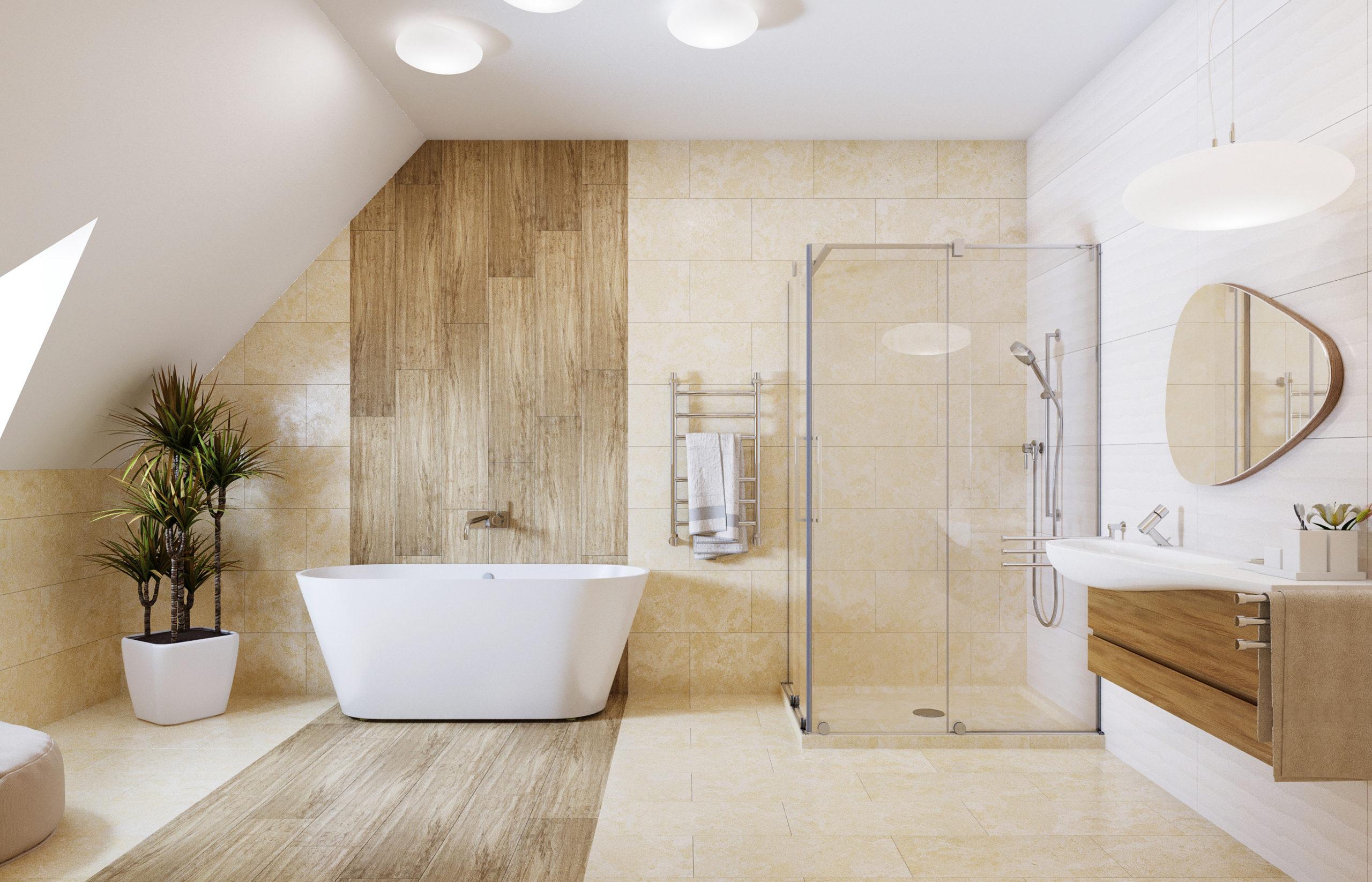 Дизайн интерьера ванной комнаты в мансардном помещении