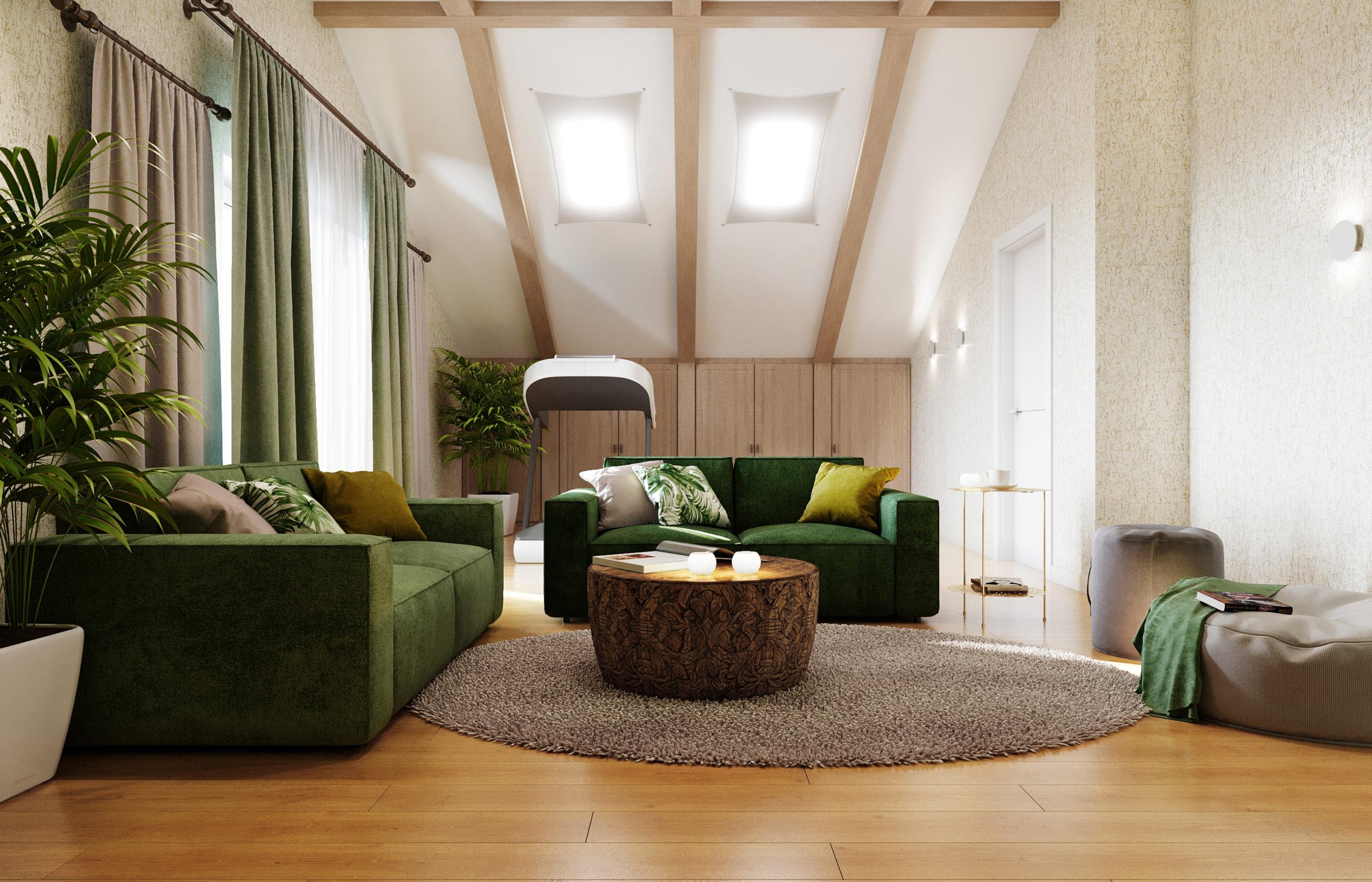 Дизайн интерьера гостиной в мансардном помещении