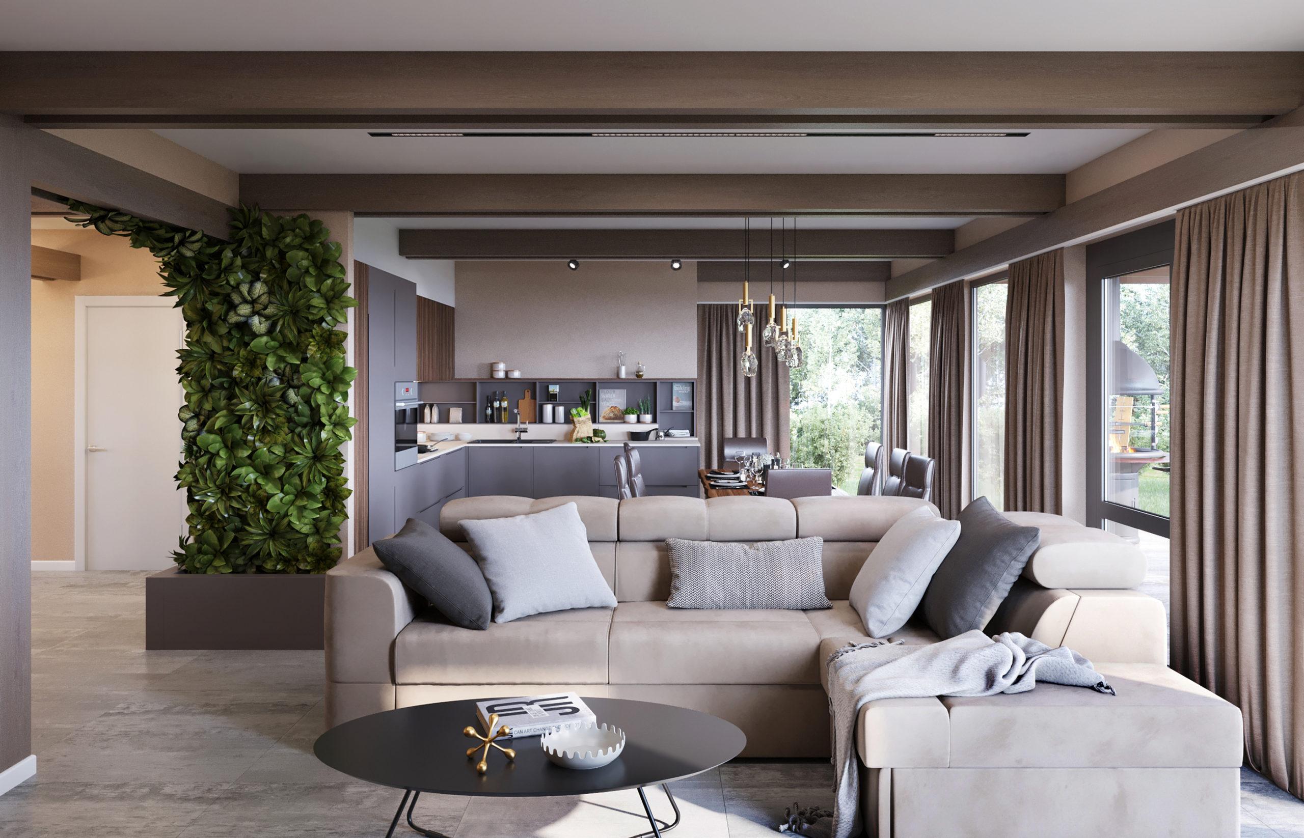 В интерьере гостиной подчеркнули все конструктивные элементы дома, усилив строгий ритм балок графичным ритмом трековых светильников