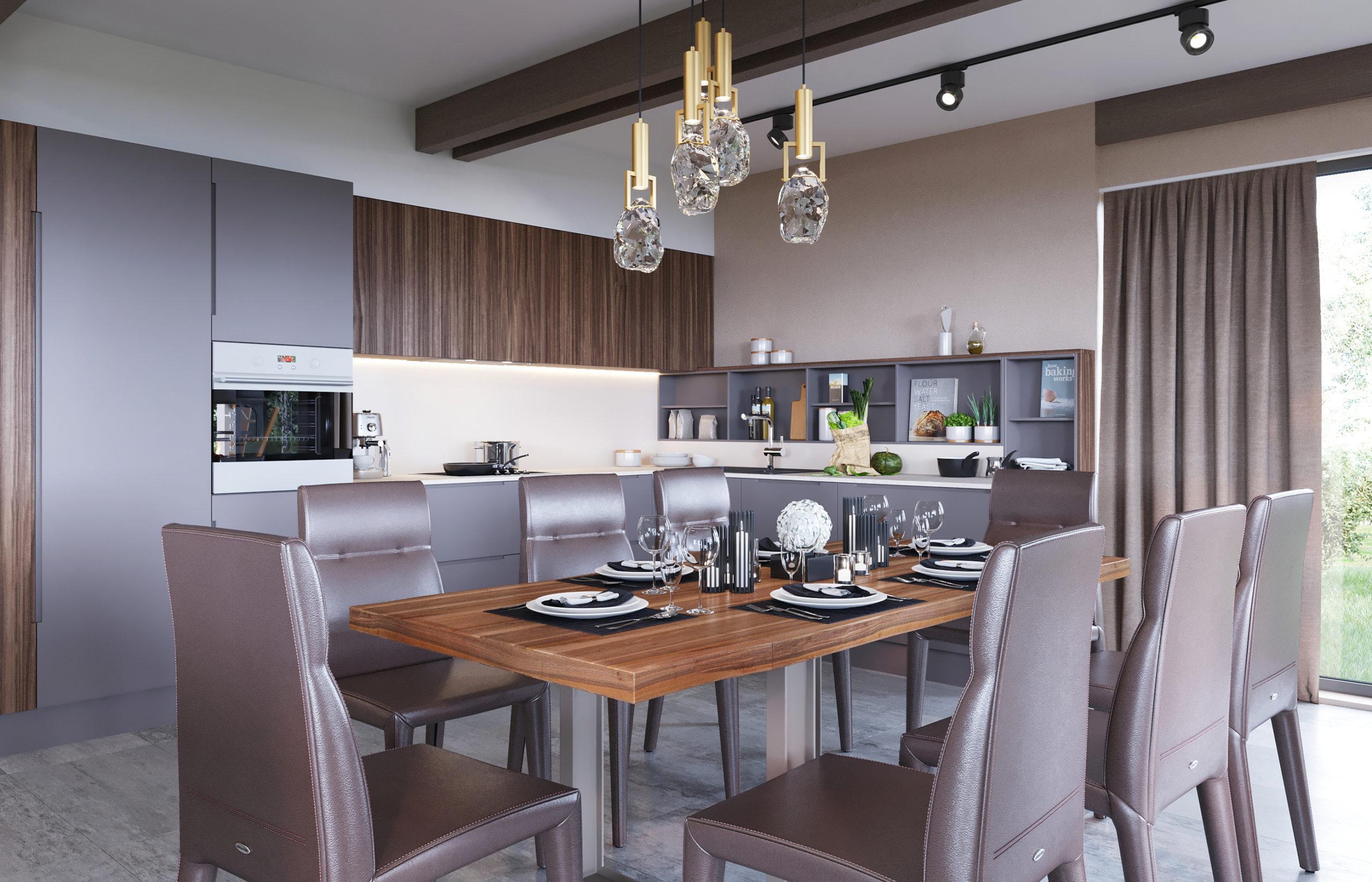 Зона стены над столешницей, спроектированная российской фабрикой Giulia Novars, является самым удобным местом для хранения мелкой кухонной утвари и специй