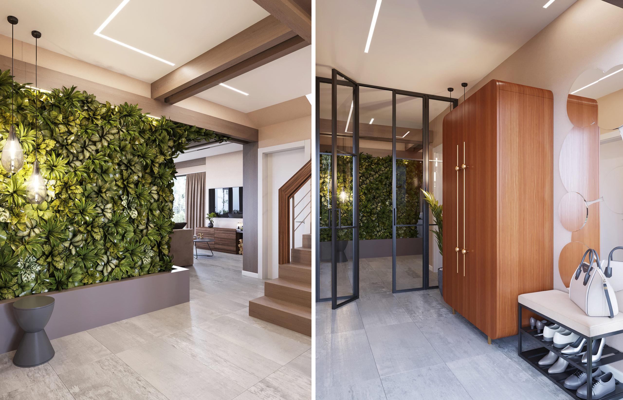 Стена их живых растений встречает жильцов дома уже на входе