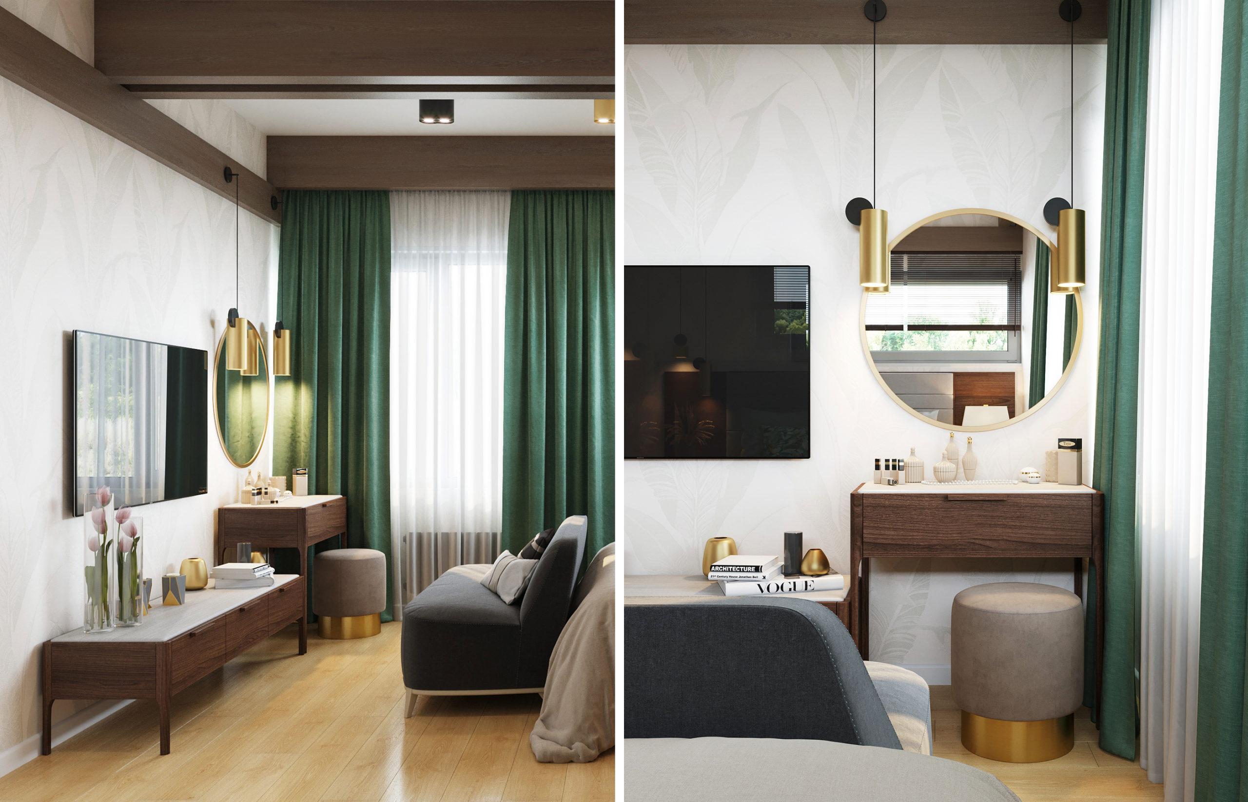 Едва заметный орнамент из крупных листьев на обоях, деревянная мебель, золотистые светильники - с помощью этих элементов удается создать теплый и уютный минималистичный интерьер спальни