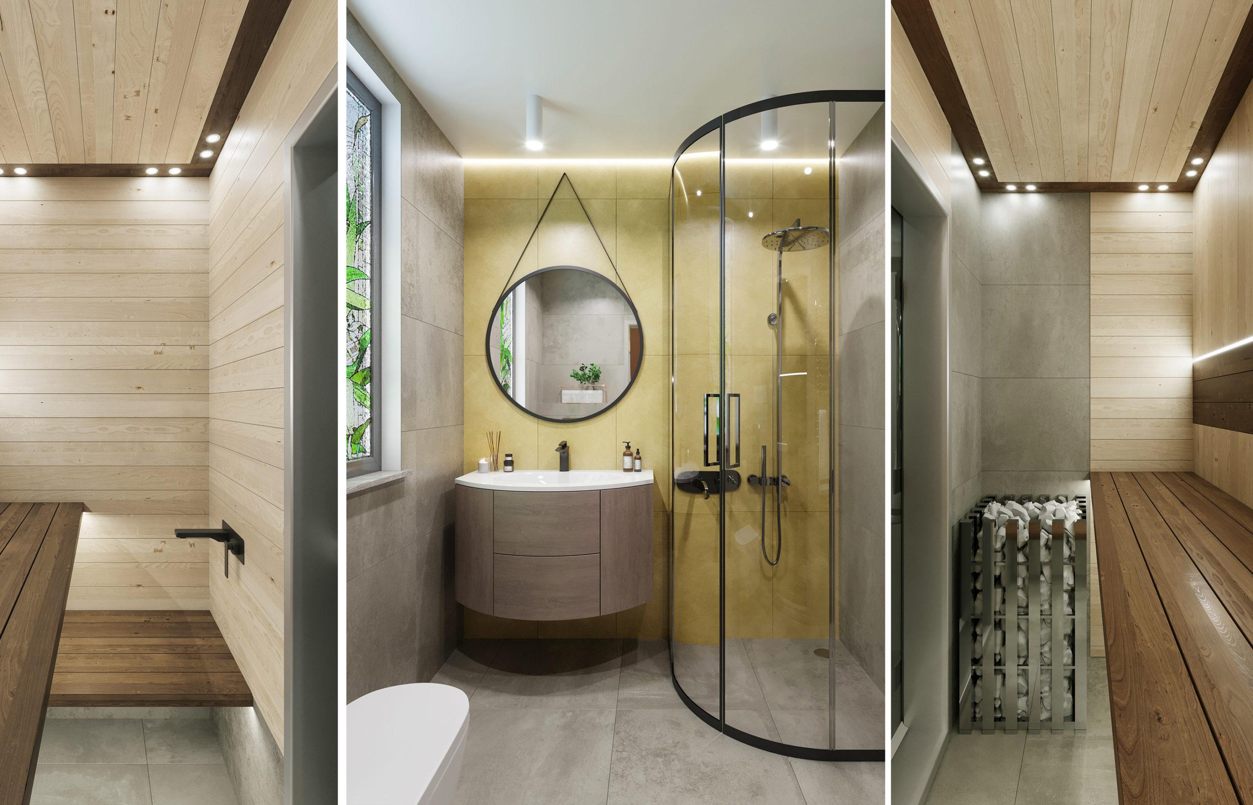 Стены гостевой ванной покрыты керамогранитом от российской фабрики Italon, коллекция Terraviva