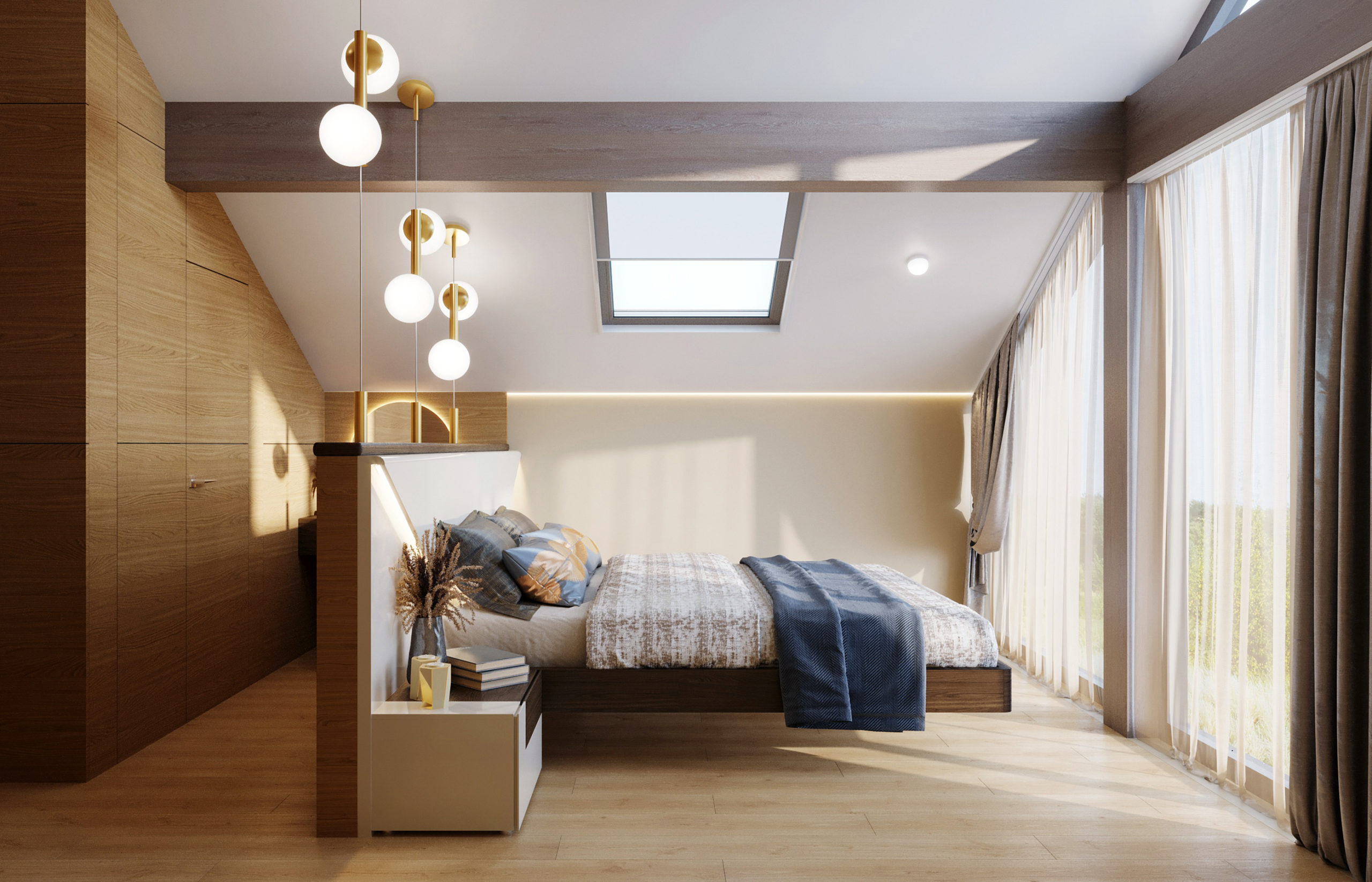 Одна стена в спальне стеклянная и за этой прозрачной стеной открывается фантастическая панорама дикого леса