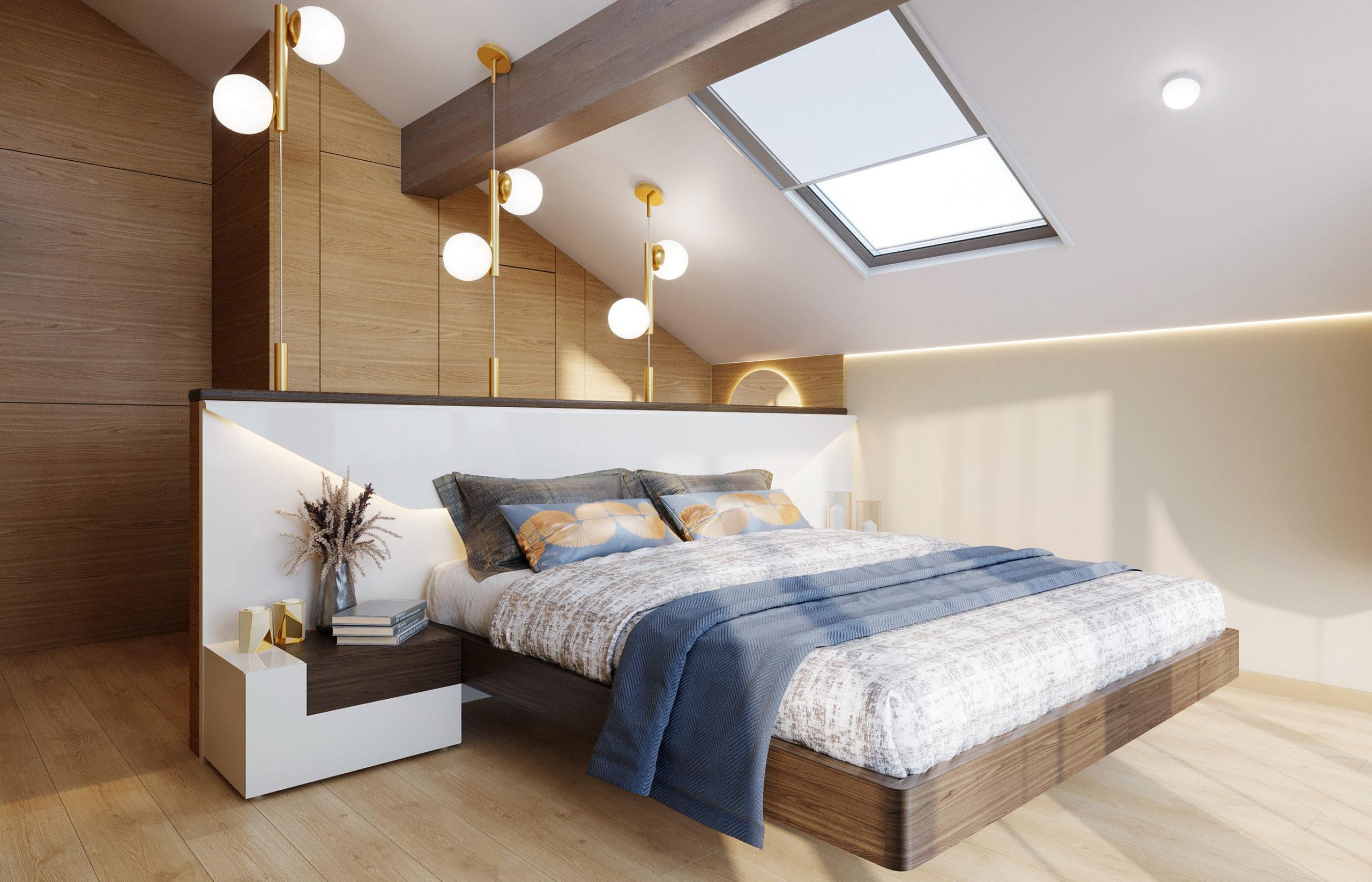 В спальне хозяев за декоративными деревянными панелями прячется вход в гардеробную