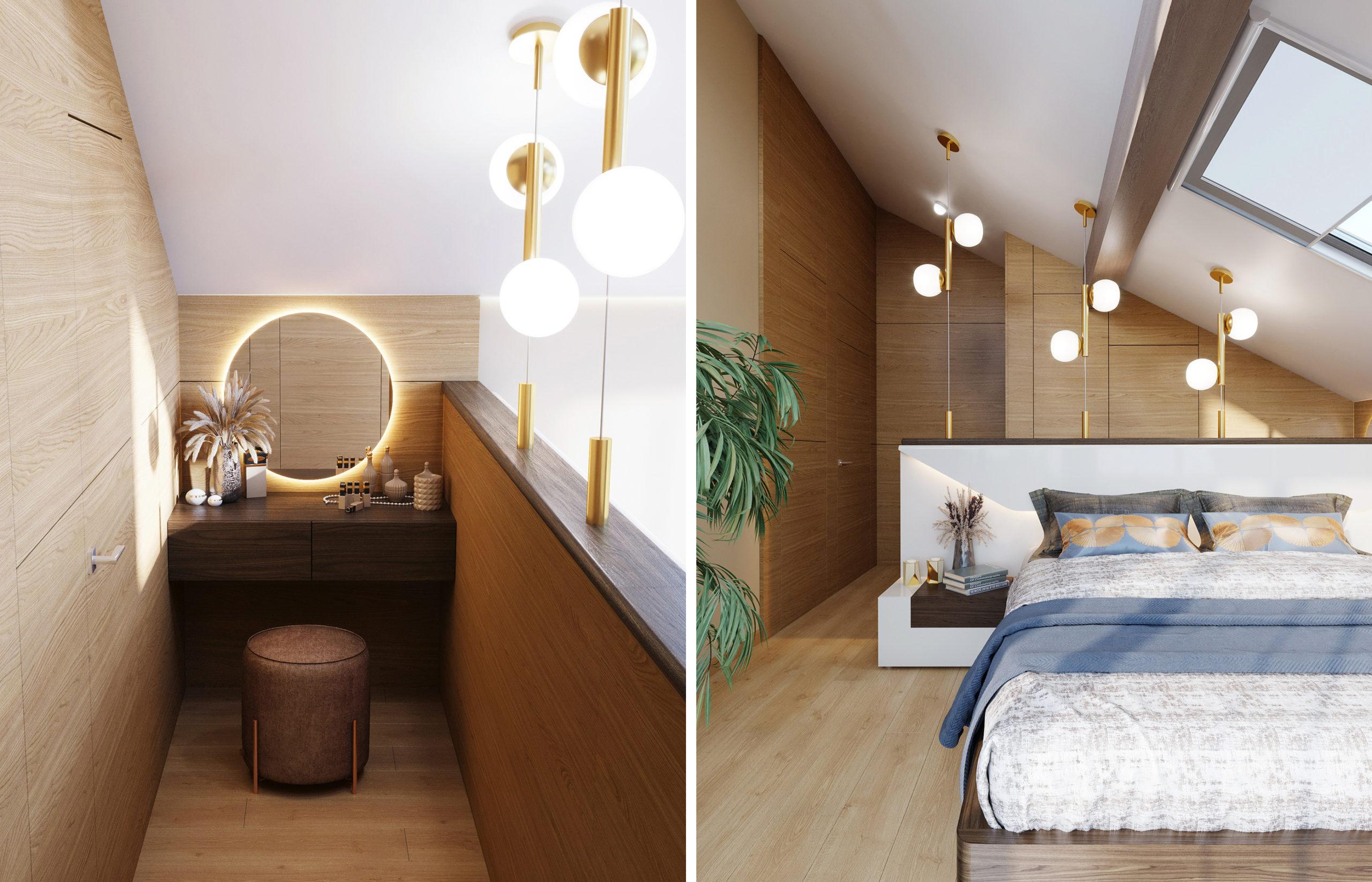 Деревянные панели в отделке создают теплую и естественную обстановку в интерьере спальни