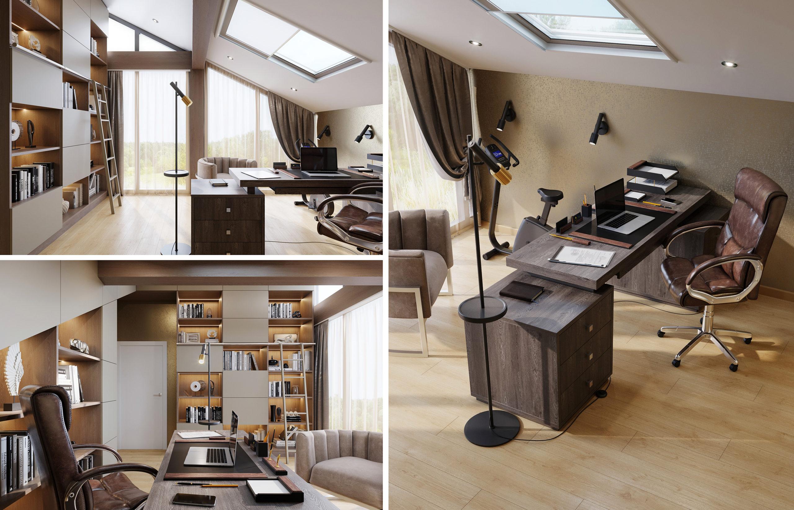 Дизайн интерьера современного кабинета с библиотекой