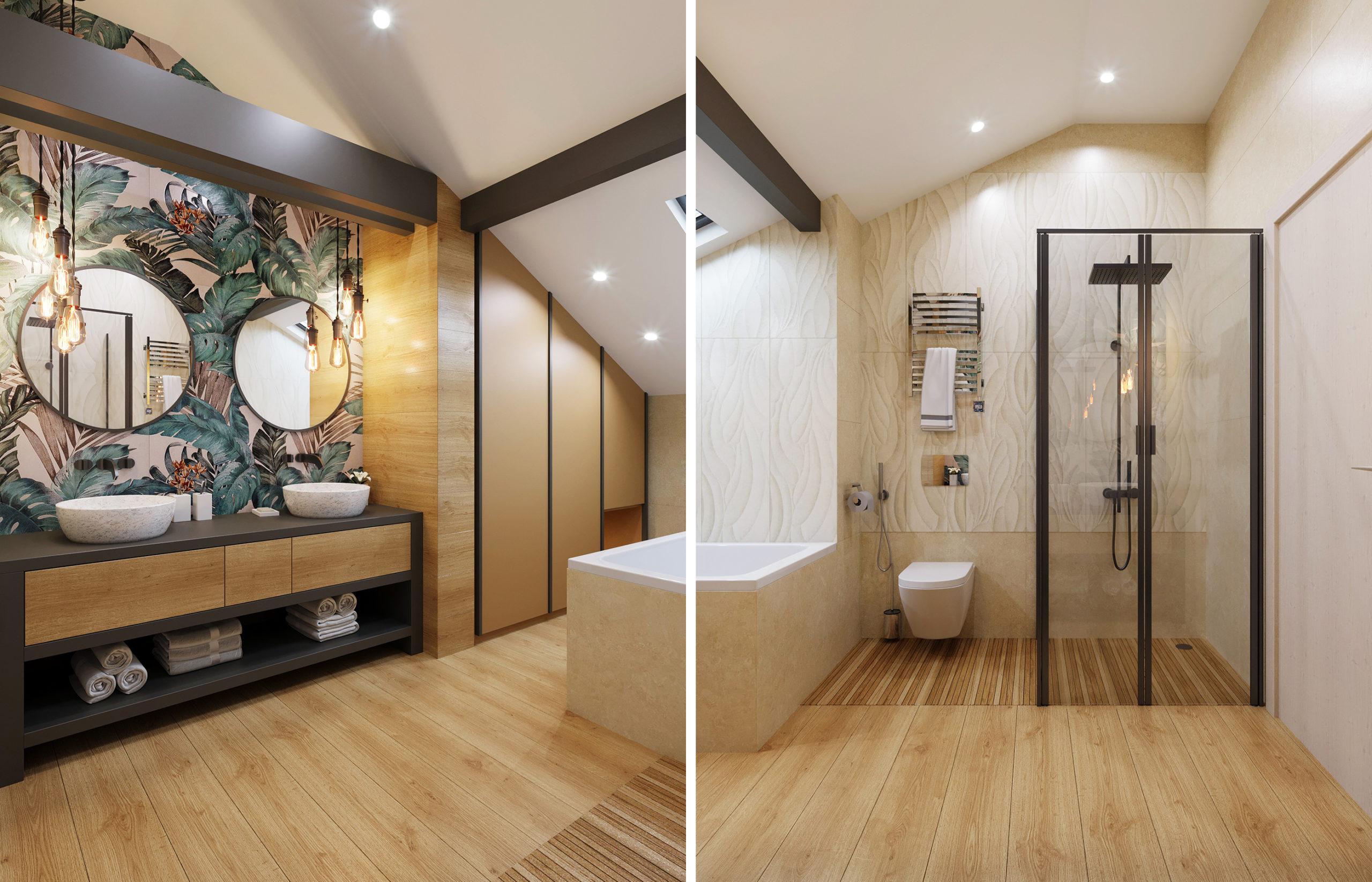 За лаконичными шпонированными панелями прячется большой хозяйственный шкаф. Никакие бытовые детали не нарушают теплую атмосферу интерьера ванной комнаты