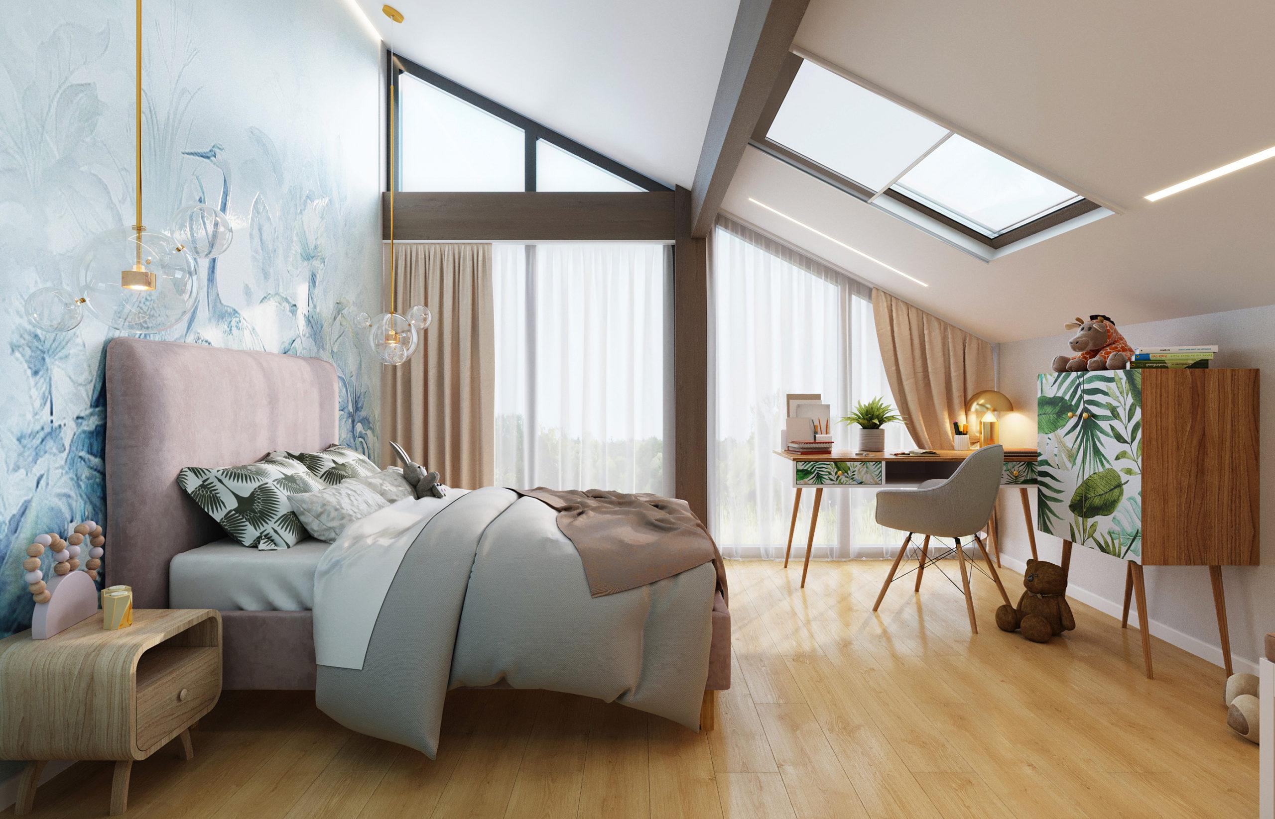 Дизайн интерьера комнаты девочки с панорамным окном во всю стену