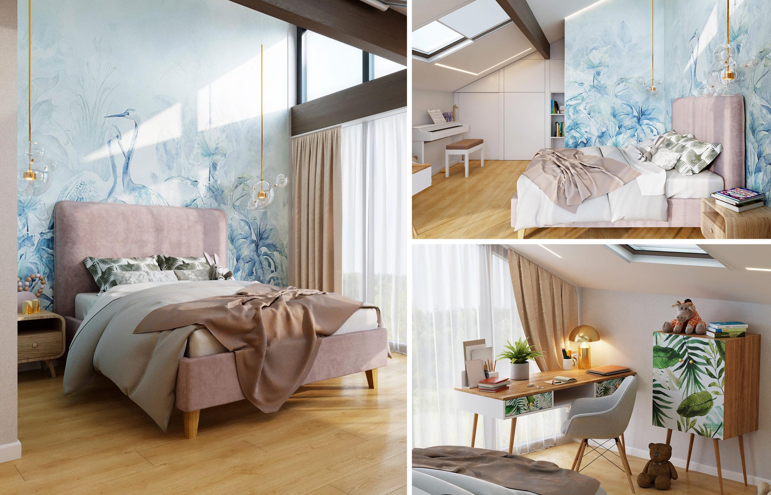 Простая по форме мебель в комнате девочки украшена принтом. Как будто из леса прилетели листья и оставили свои отпечатки на мебельных фасадах