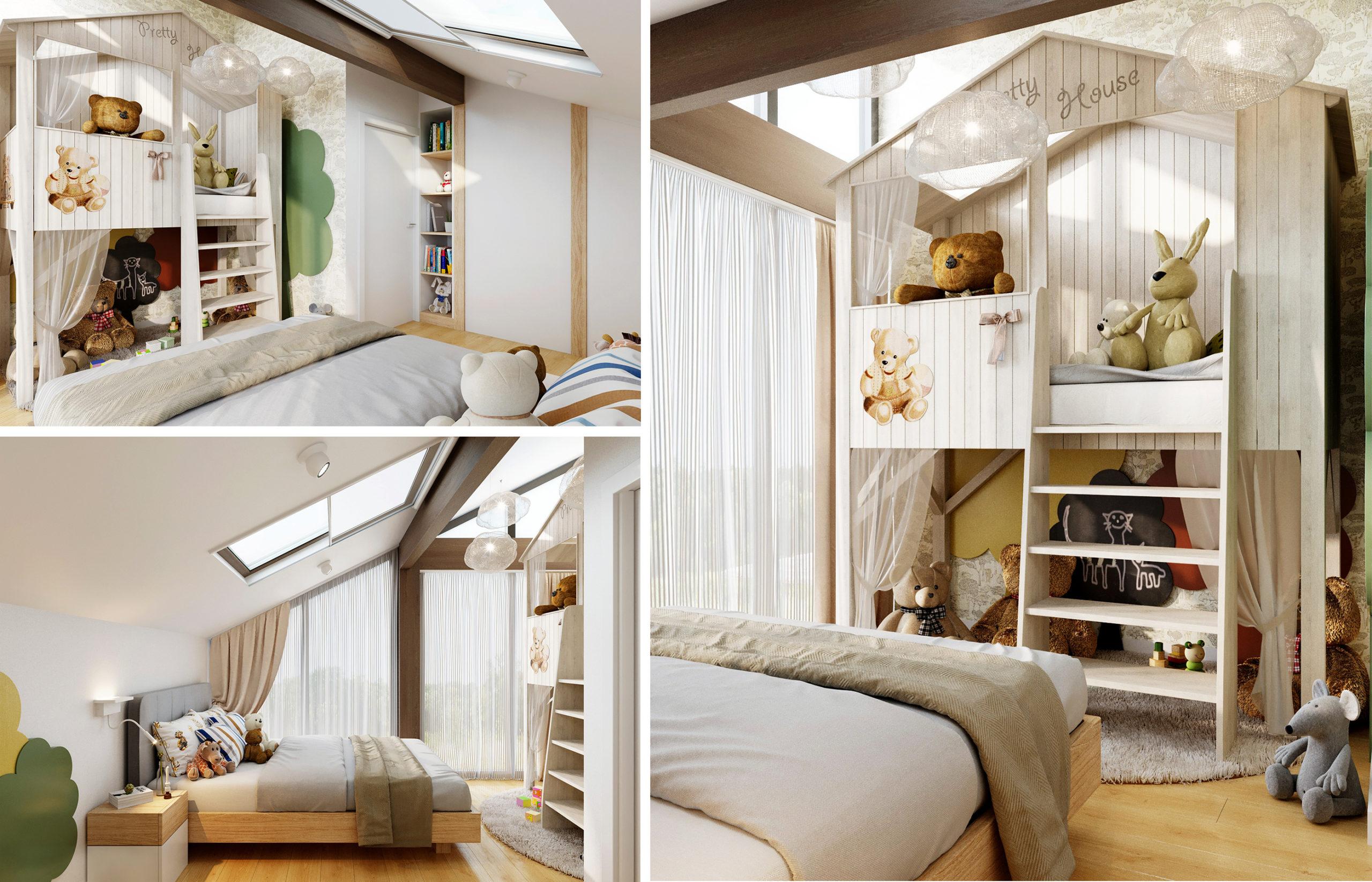 Сказочный домик с балкончиком, деревья, доска для рисования, вместительный шкаф для игрушек, широкая кровать - это все легко поместилось в детской комнате площадью 14 кв.м.